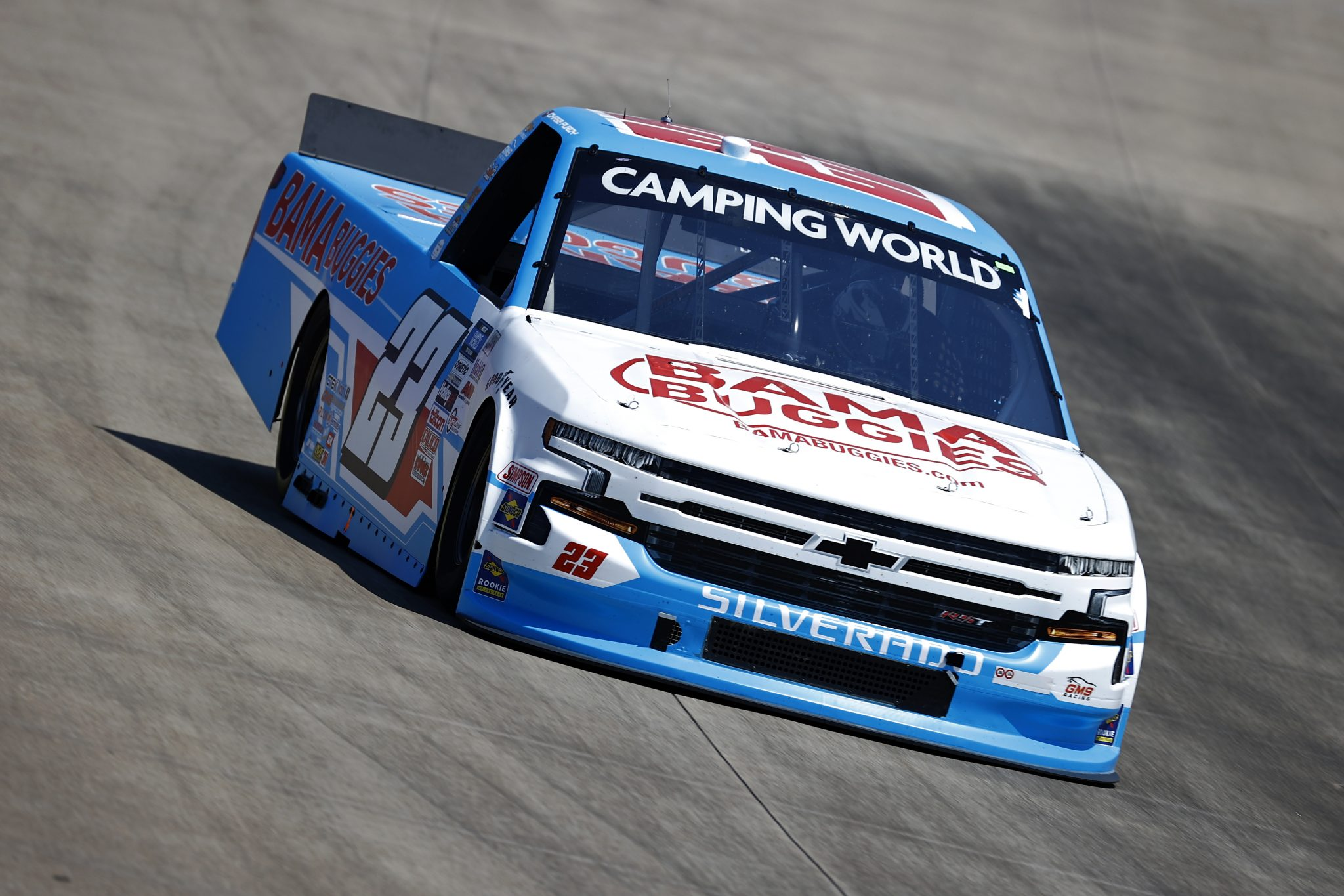 LEBANON, TENNESSEE - JUNE 18: Chase Purdy, driver of the #23 BamaBuggies.com Chevrolet, drives during practice for the NASCAR Camping World Truck Series Rackley Roofing 200 at Nashville Superspeedway on June 18, 2021 in Lebanon, Tennessee. (Photo by Jared C. Tilton/Getty Images) | Getty Images