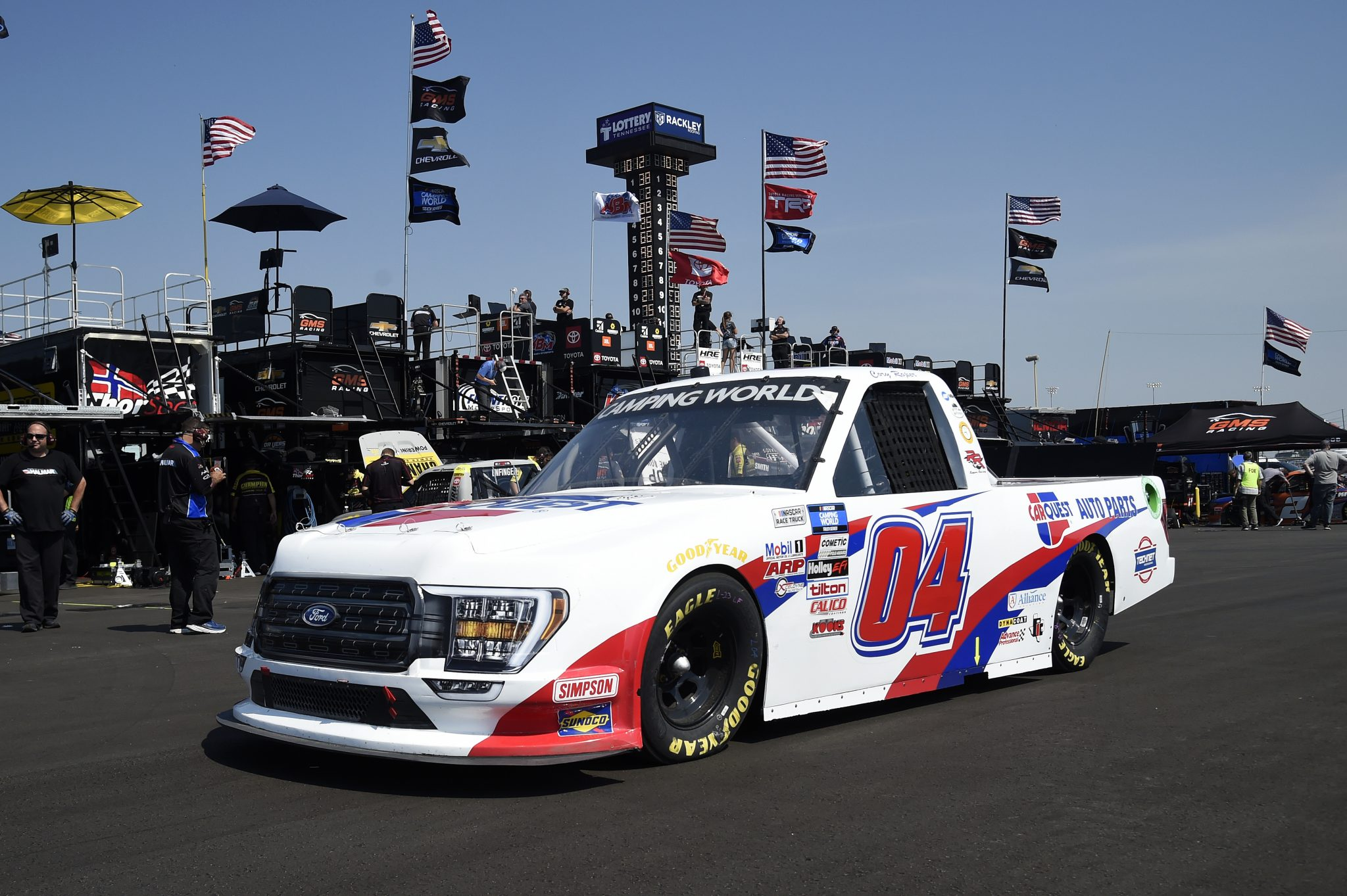 LEBANON, TENNESSEE - JUNE 18: Cory Roper, driver of the #04 CarQuest Auto Parts Ford, drives in the garage area during practice for the NASCAR Camping World Truck Series Rackley Roofing 200 at Nashville Superspeedway on June 18, 2021 in Lebanon, Tennessee. (Photo by Logan Riely/Getty Images) | Getty Images
