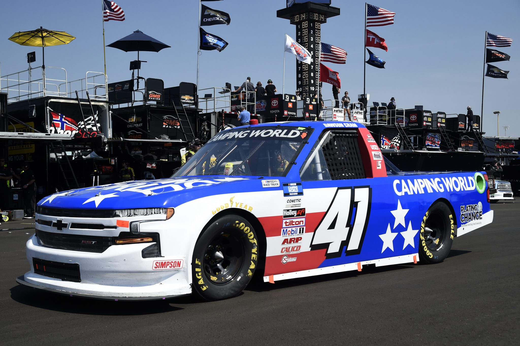 LEBANON, TENNESSEE - JUNE 18: Dawson Cram, driver of the #41 Camping World Chevrolet, drives in the garage area during practice for the NASCAR Camping World Truck Series Rackley Roofing 200 at Nashville Superspeedway on June 18, 2021 in Lebanon, Tennessee. (Photo by Logan Riely/Getty Images) | Getty Images