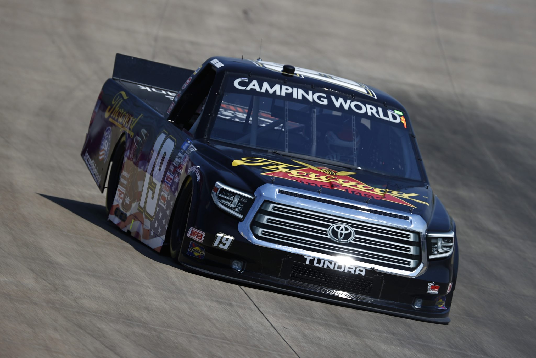 LEBANON, TENNESSEE - JUNE 18: Derek Kraus, driver of the #19 Thorogood Toyota, drives during practice for the NASCAR Camping World Truck Series Rackley Roofing 200 at Nashville Superspeedway on June 18, 2021 in Lebanon, Tennessee. (Photo by Jared C. Tilton/Getty Images) | Getty Images