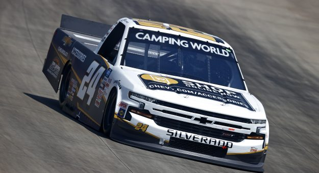 LEBANON, TENNESSEE - JUNE 18: Jack Wood, driver of the #24 Chevy Accessories Chevrolet, drives during practice for the NASCAR Camping World Truck Series Rackley Roofing 200 at Nashville Superspeedway on June 18, 2021 in Lebanon, Tennessee. (Photo by Jared C. Tilton/Getty Images) | Getty Images