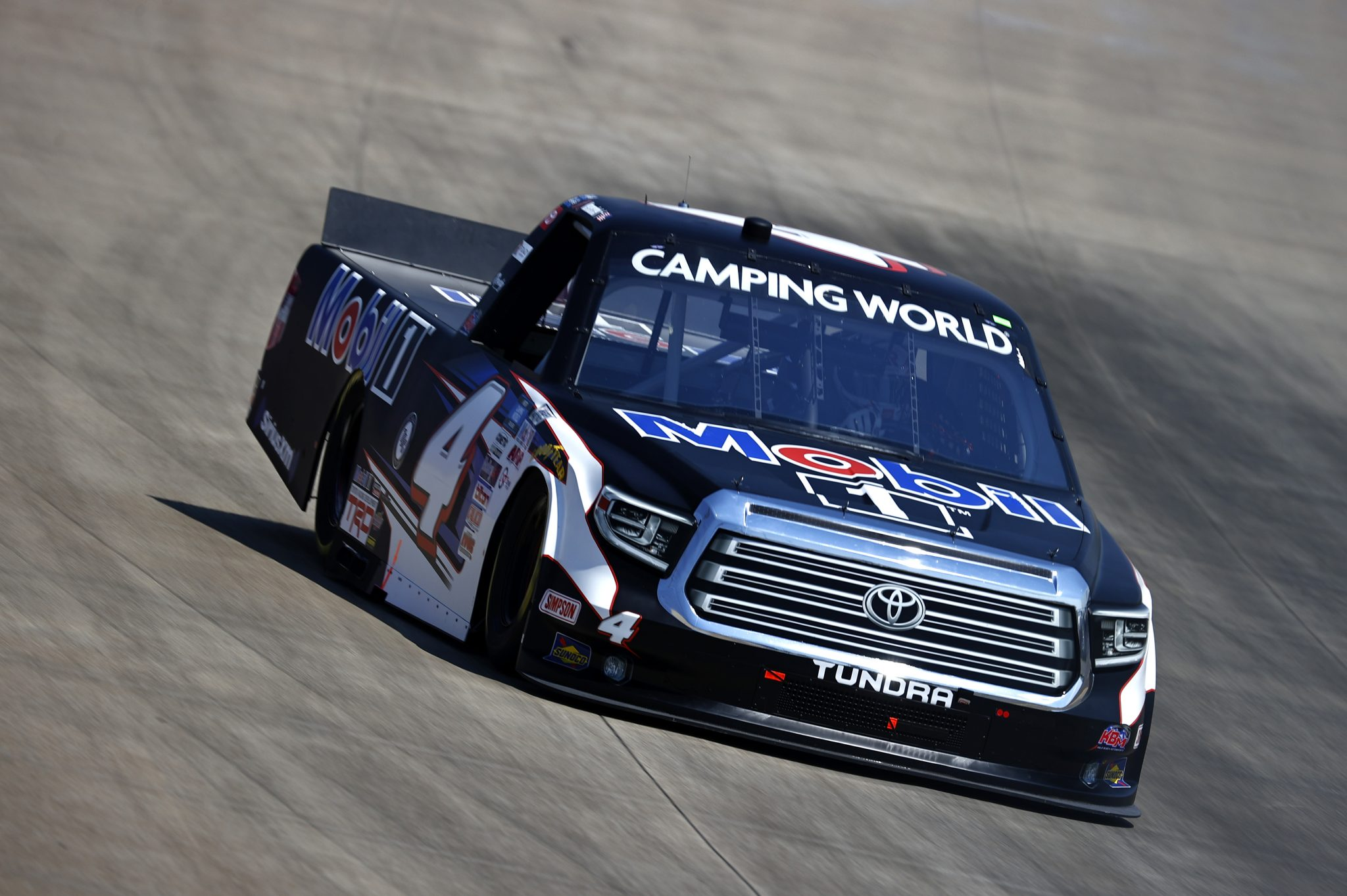 LEBANON, TENNESSEE - JUNE 18: John Hunter Nemechek, driver of the #4 Mobil 1 Toyota, drives during practice for the NASCAR Camping World Truck Series Rackley Roofing 200 at Nashville Superspeedway on June 18, 2021 in Lebanon, Tennessee. (Photo by Jared C. Tilton/Getty Images) | Getty Images