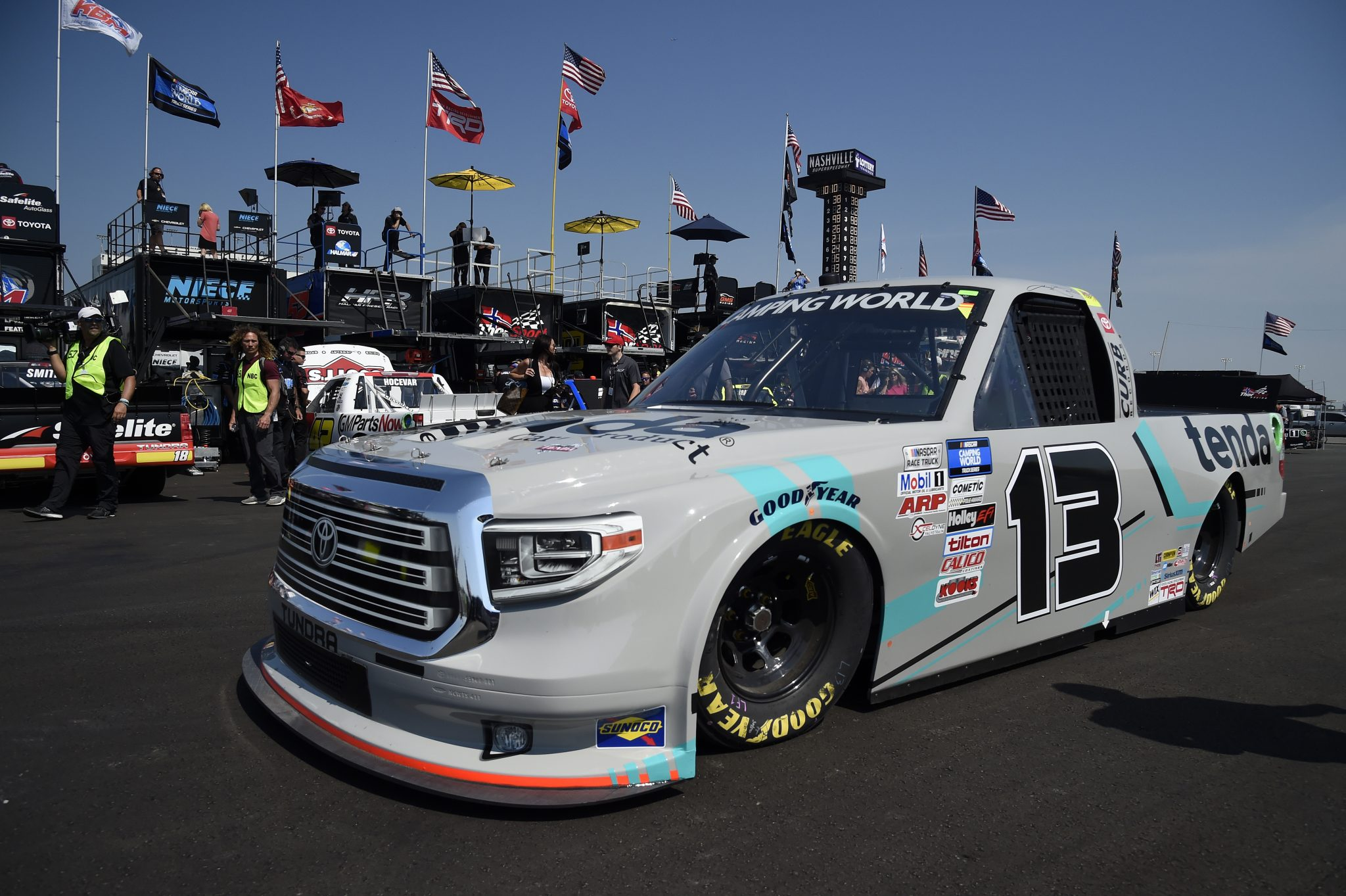 LEBANON, TENNESSEE - JUNE 18: Johnny Sauter, driver of the #13 Tenda Equine & Pet Care Products Toyota, drives in the garage area during practice for the NASCAR Camping World Truck Series Rackley Roofing 200 at Nashville Superspeedway on June 18, 2021 in Lebanon, Tennessee. (Photo by Logan Riely/Getty Images) | Getty Images