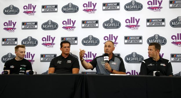 LEBANON, TENNESSEE - JUNE 18: (L-R) Justin Haley, driver of the #11 LeafFilter Gutter Protection Chevrolet, Matt Kaulig, owner of Kaulig Racing, Chris Rice, president of Kaulig Racing and AJ Allmendinger, driver of the #16 Hyperice Chevrolet announce that Kaulig Racing will race full time in the NASCAR Cup Series season in 2022, during a press conference prior to practice for the NASCAR Xfinity Series Tennessee Lottery 250 at Nashville Superspeedway on June 18, 2021 in Lebanon, Tennessee. (Photo by Jared C. Tilton/Getty Images) | Getty Images