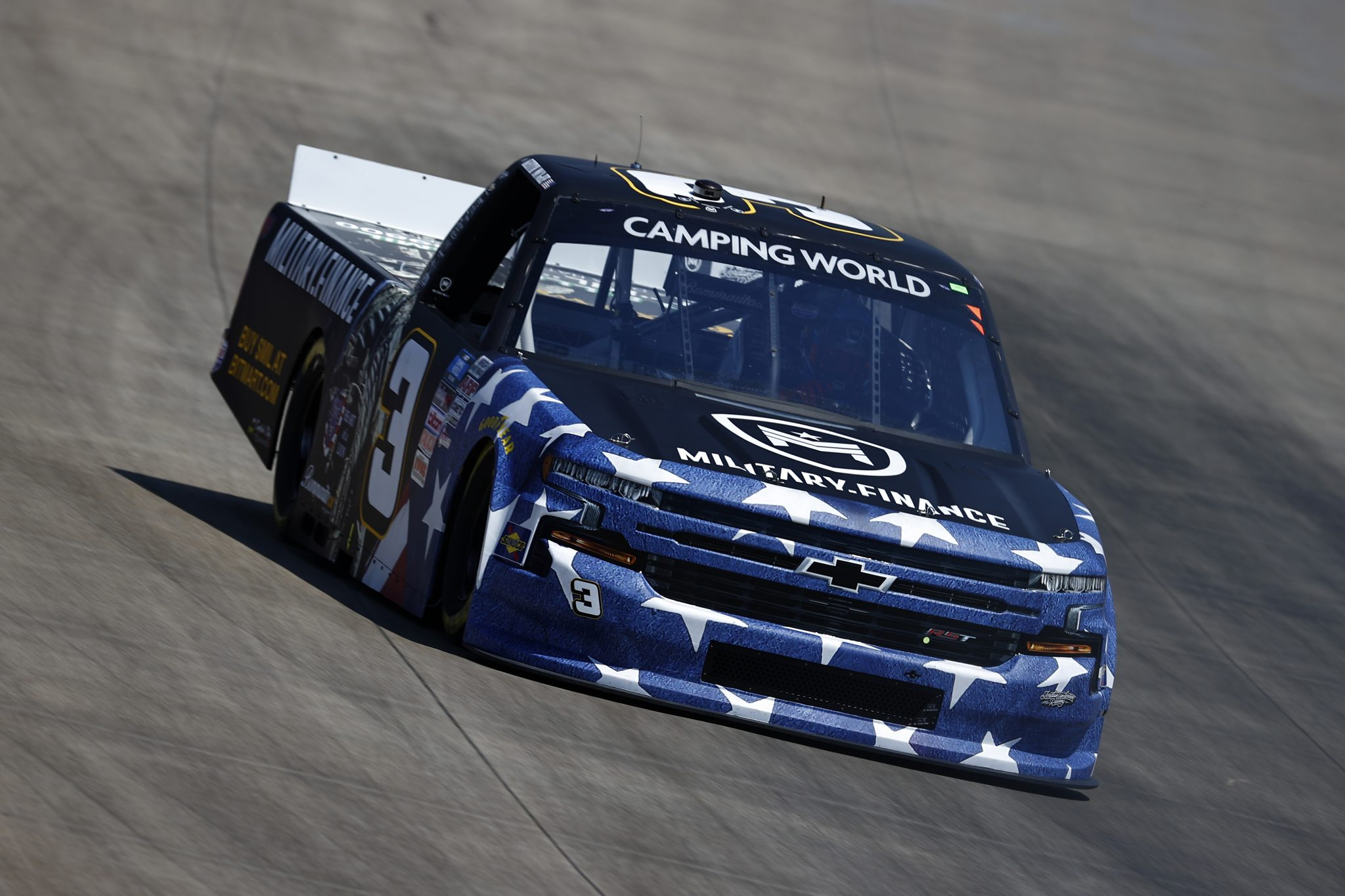 LEBANON, TENNESSEE - JUNE 18: Keith Mcgee, driver of the #3 Military Finance Chevrolet, drives during practice for the NASCAR Camping World Truck Series Rackley Roofing 200 at Nashville Superspeedway on June 18, 2021 in Lebanon, Tennessee. (Photo by Jared C. Tilton/Getty Images) | Getty Images