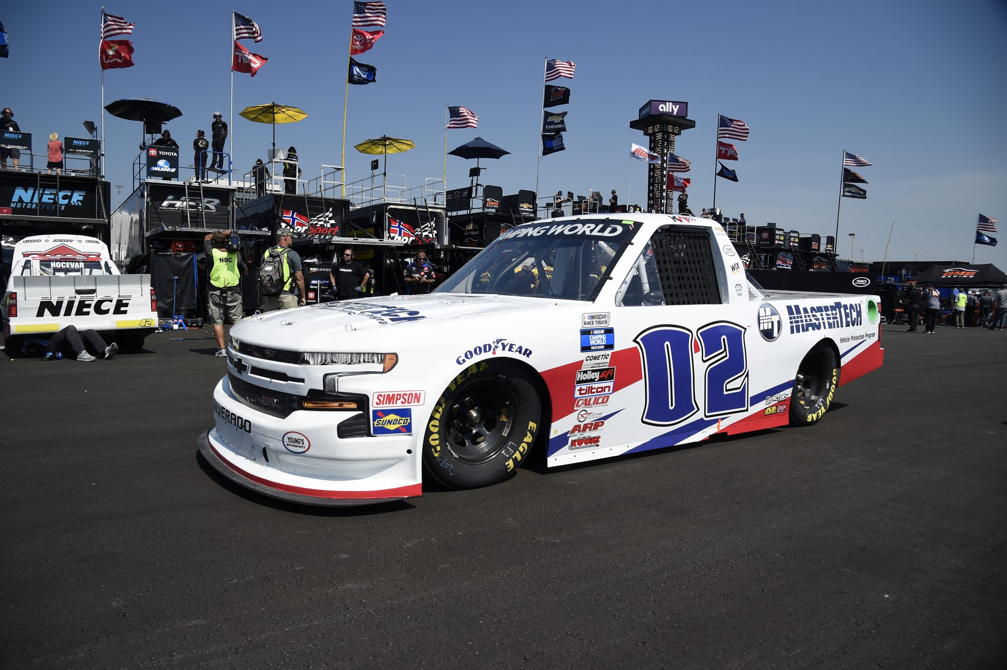 LEBANON, TENNESSEE - JUNE 18: Kris Wright, driver of the #02 MasterTech Chevrolet, drives in the garage area during practice for the NASCAR Camping World Truck Series Rackley Roofing 200 at Nashville Superspeedway on June 18, 2021 in Lebanon, Tennessee. (Photo by Logan Riely/Getty Images) | Getty Images