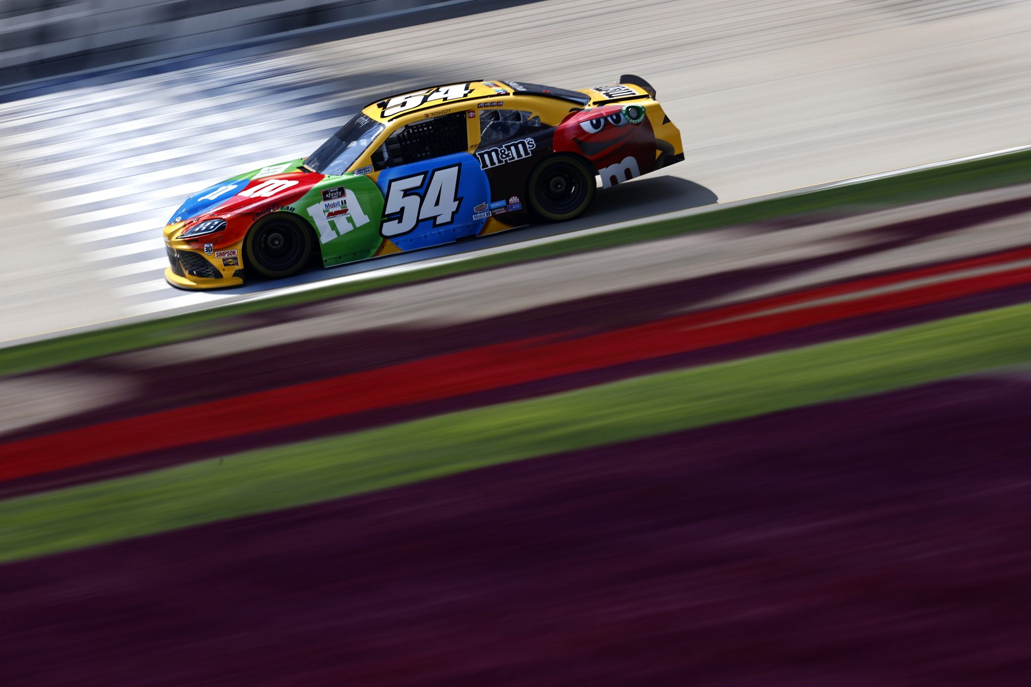 LEBANON, TENNESSEE - JUNE 18: Kyle Busch, driver of the #54 M&M's Toyota, drives during practice for the NASCAR Xfinity Series Tennessee Lottery 250 at Nashville Superspeedway on June 18, 2021 in Lebanon, Tennessee. (Photo by Jared C. Tilton/Getty Images) | Getty Images