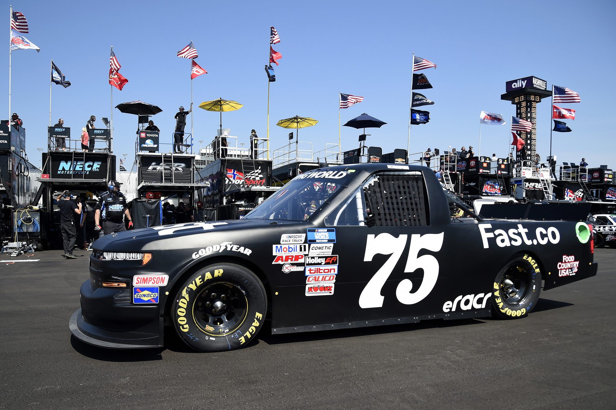 LEBANON, TENNESSEE - JUNE 18: Parker Kligerman, driver of the #75 Fast Checkout Chevrolet, drives in the garage area during practice for the NASCAR Camping World Truck Series Rackley Roofing 200 at Nashville Superspeedway on June 18, 2021 in Lebanon, Tennessee. (Photo by Logan Riely/Getty Images) | Getty Images