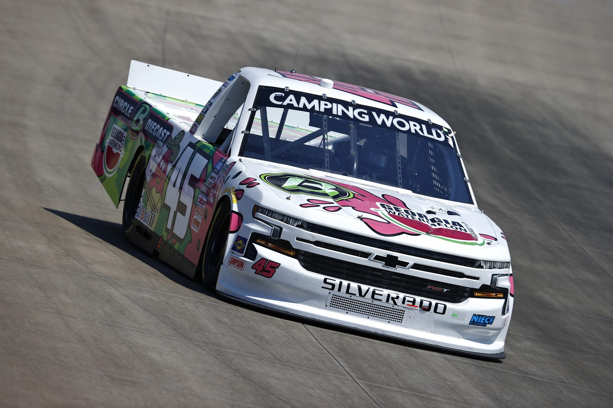 LEBANON, TENNESSEE - JUNE 18: Ross Chastain, driver of the #45 GA Watermelon/Circle B Diecast Chevrolet, drives during practice for the NASCAR Camping World Truck Series Rackley Roofing 200 at Nashville Superspeedway on June 18, 2021 in Lebanon, Tennessee. (Photo by Jared C. Tilton/Getty Images) | Getty Images