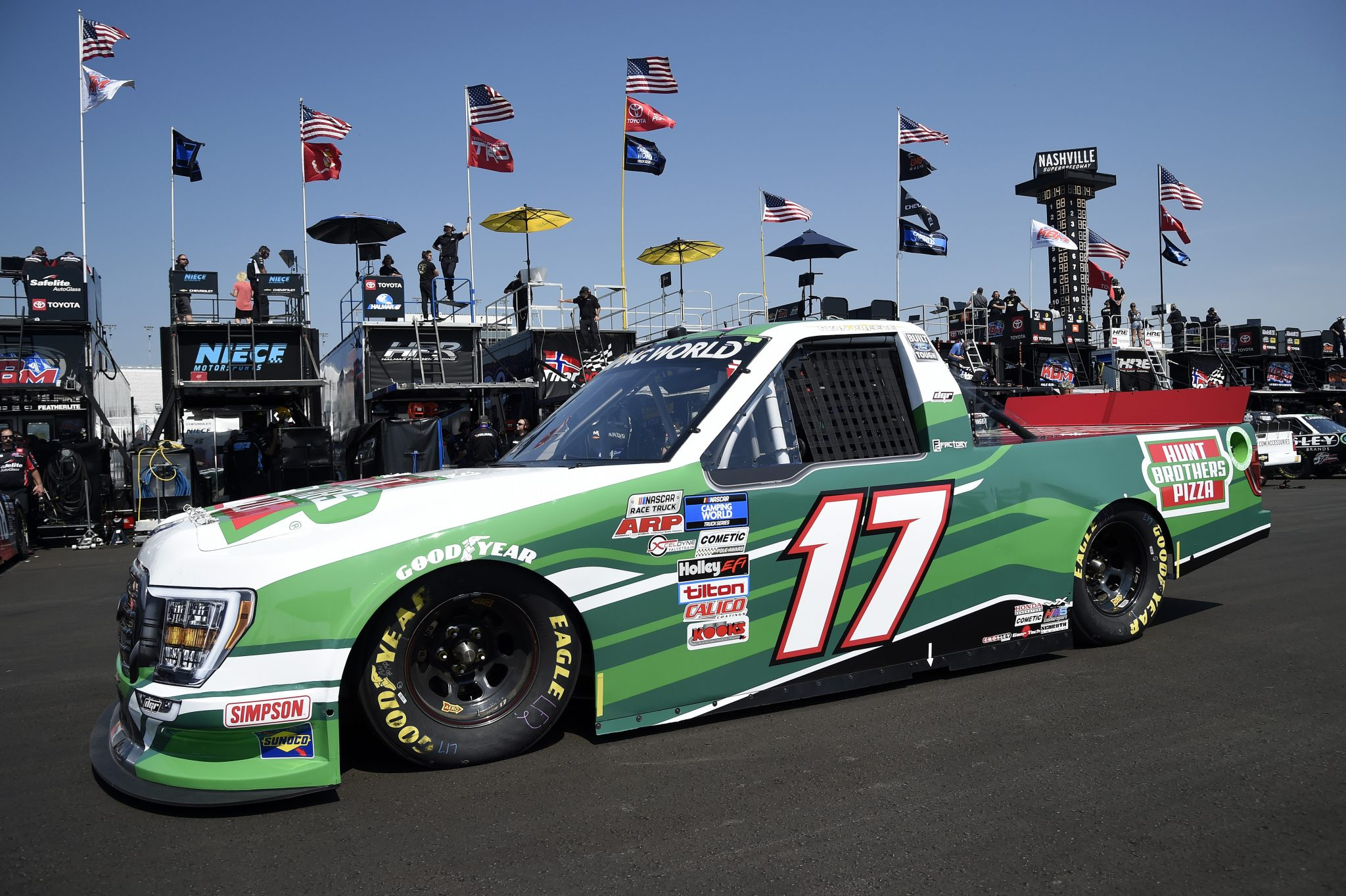 LEBANON, TENNESSEE - JUNE 18: Ryan Preece, driver of the #17 Hunt Brothers Pizza Ford, drives in the garage area during practice for the NASCAR Camping World Truck Series Rackley Roofing 200 at Nashville Superspeedway on June 18, 2021 in Lebanon, Tennessee. (Photo by Logan Riely/Getty Images) | Getty Images
