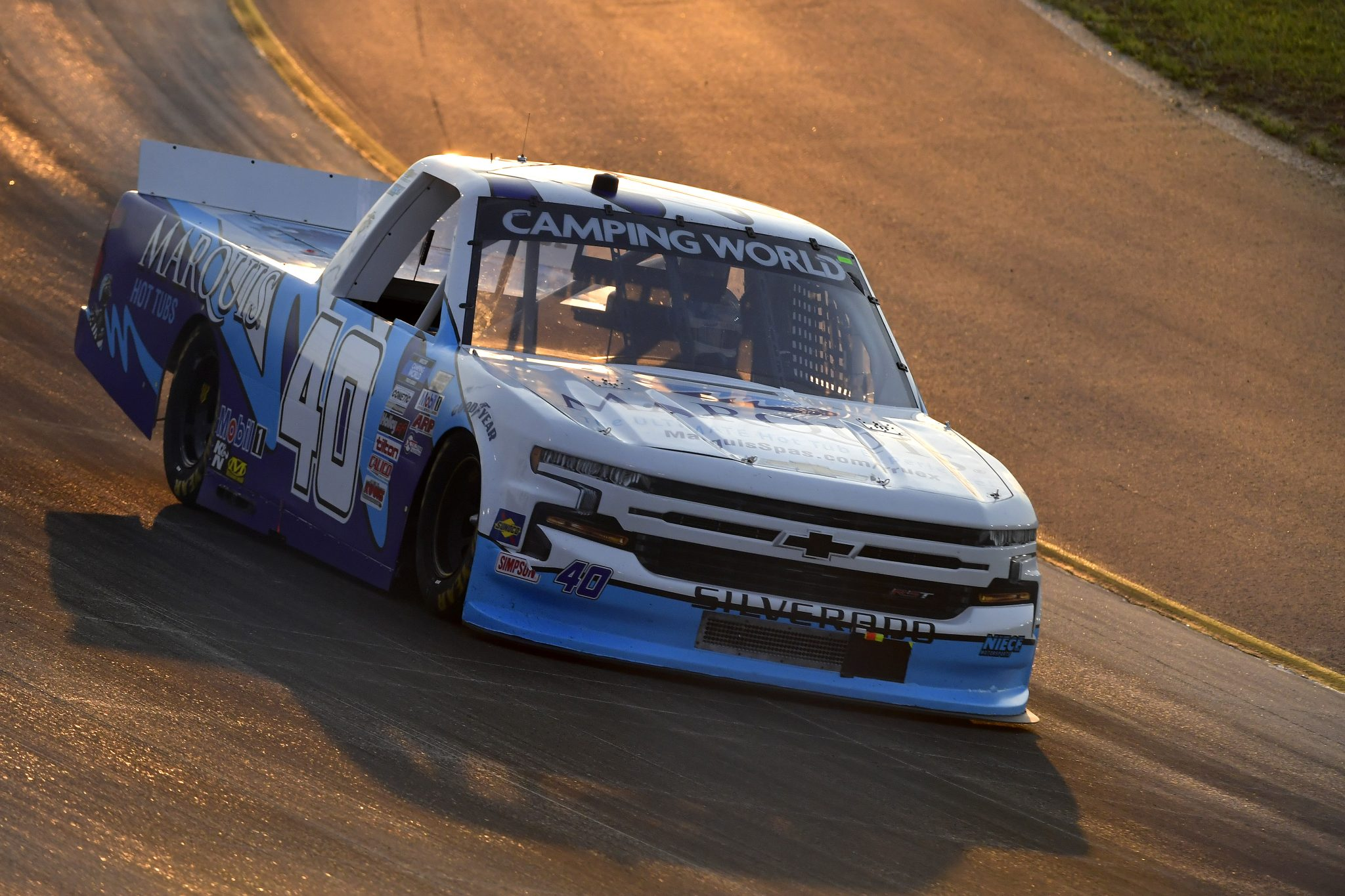 LEBANON, TENNESSEE - JUNE 18: Ryan Truex, driver of the #40 Marquis Spas Chevrolet, drives during the NASCAR Camping World Truck Series Rackley Roofing 200 at Nashville Superspeedway on June 18, 2021 in Lebanon, Tennessee. (Photo by Logan Riely/Getty Images) | Getty Images