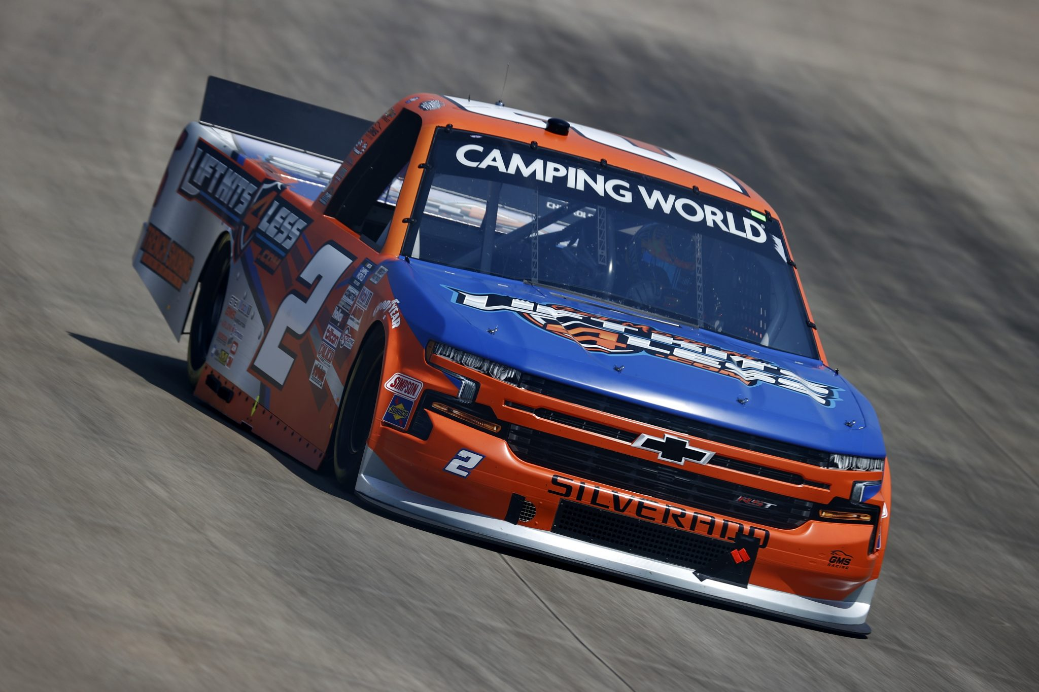 LEBANON, TENNESSEE - JUNE 18: Sheldon Creed, driver of the #2 Liftkits4less.com Chevrolet, drives during practice for the NASCAR Camping World Truck Series Rackley Roofing 200 at Nashville Superspeedway on June 18, 2021 in Lebanon, Tennessee. (Photo by Jared C. Tilton/Getty Images) | Getty Images
