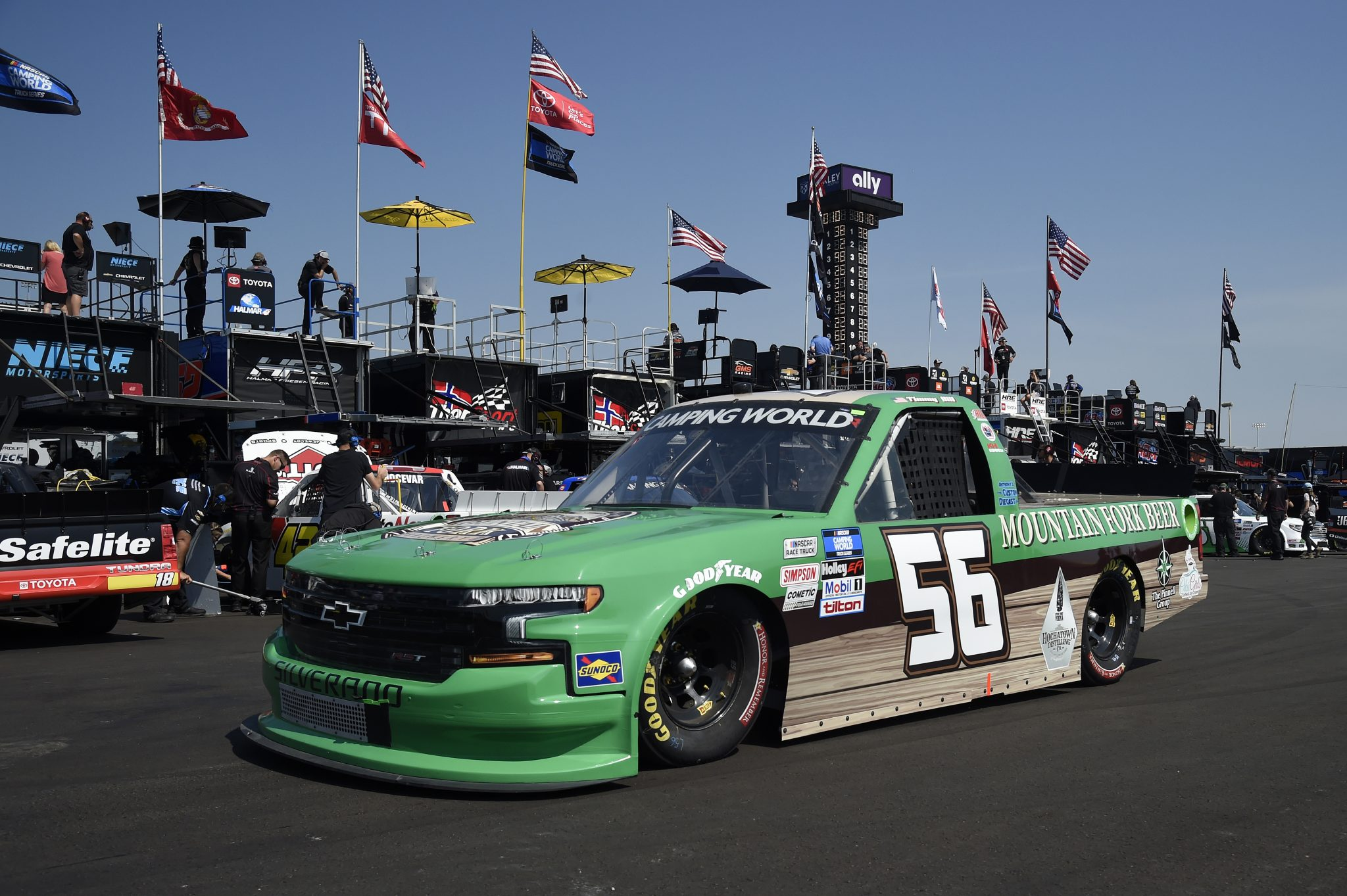LEBANON, TENNESSEE - JUNE 18: Timmy Hill, driver of the #56 Mountain Fork Brewery Chevrolet, drives in the garage area during practice for the NASCAR Camping World Truck Series Rackley Roofing 200 at Nashville Superspeedway on June 18, 2021 in Lebanon, Tennessee. (Photo by Logan Riely/Getty Images) | Getty Images