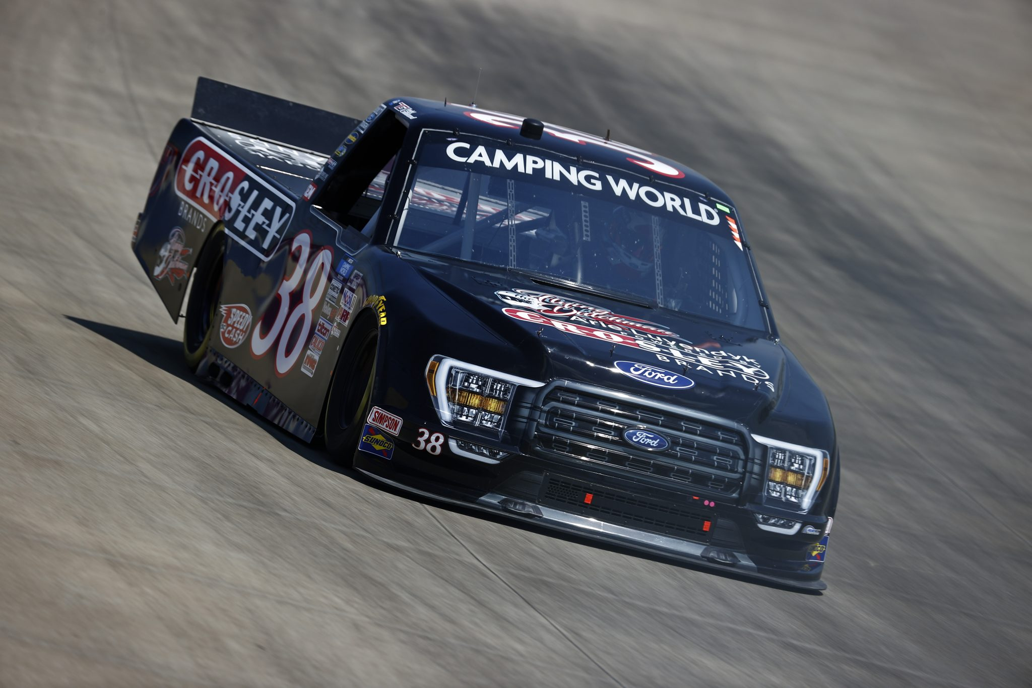 LEBANON, TENNESSEE - JUNE 18: Todd Gilliland, driver of the #38 Crosley Brands Ford, drives during practice for the NASCAR Camping World Truck Series Rackley Roofing 200 at Nashville Superspeedway on June 18, 2021 in Lebanon, Tennessee. (Photo by Jared C. Tilton/Getty Images) | Getty Images