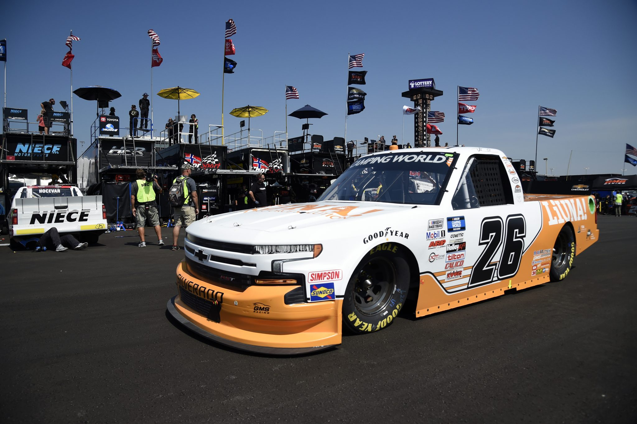 LEBANON, TENNESSEE - JUNE 18: Tyler Ankrum, driver of the #26 LiUNA! Chevrolet, drives in the garage area during practice for the NASCAR Camping World Truck Series Rackley Roofing 200 at Nashville Superspeedway on June 18, 2021 in Lebanon, Tennessee. (Photo by Logan Riely/Getty Images) | Getty Images