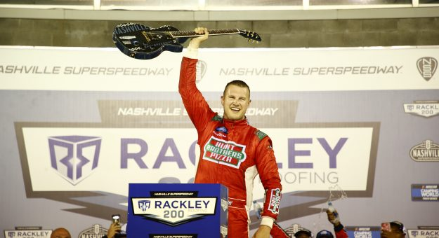 LEBANON, TENNESSEE - JUNE 18: Ryan Preece, driver of the #17 Hunt Brothers Pizza Ford, celebrates in victory lane after winning the NASCAR Camping World Truck Series Rackley Roofing 200 at Nashville Superspeedway on June 18, 2021 in Lebanon, Tennessee. (Photo by Jared C. Tilton/Getty Images)   Getty Images