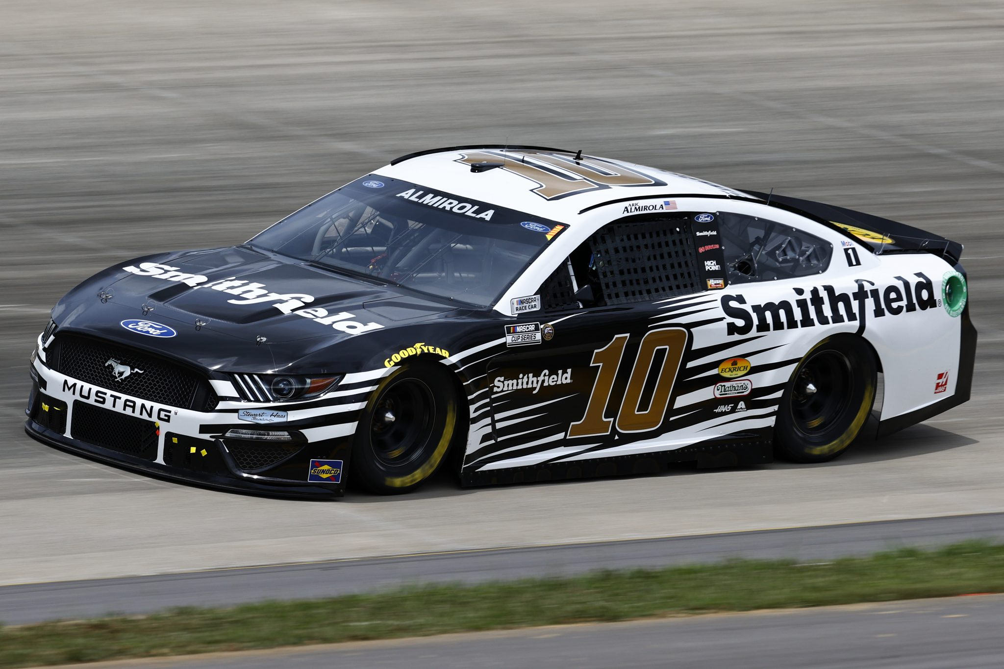 LEBANON, TENNESSEE - JUNE 19: Aric Almirola, driver of the #10 Smithfield Ford, drives during practice for the NASCAR Cup Series Ally 400 at Nashville Superspeedway on June 19, 2021 in Lebanon, Tennessee. (Photo by Jared C. Tilton/Getty Images)   Getty Images