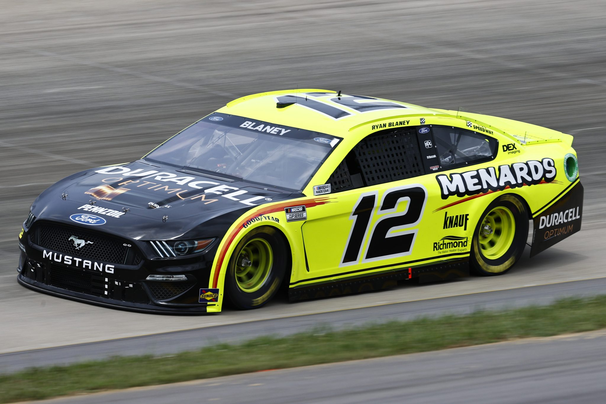 LEBANON, TENNESSEE - JUNE 19: Ryan Blaney, driver of the #12 Menards/Duracell Ford, drives during practice for the NASCAR Cup Series Ally 400 at Nashville Superspeedway on June 19, 2021 in Lebanon, Tennessee. (Photo by Jared C. Tilton/Getty Images)   Getty Images