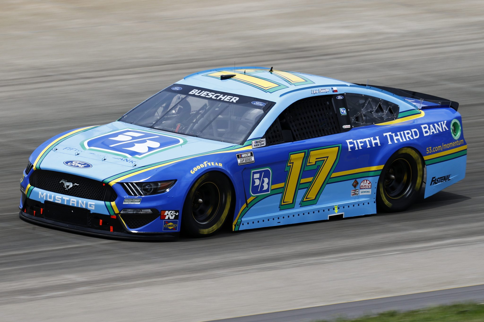 LEBANON, TENNESSEE - JUNE 19: Chris Buescher, driver of the #17 Fifth Third Bank Ford, drives during practice for the NASCAR Cup Series Ally 400 at Nashville Superspeedway on June 19, 2021 in Lebanon, Tennessee. (Photo by Jared C. Tilton/Getty Images) | Getty Images