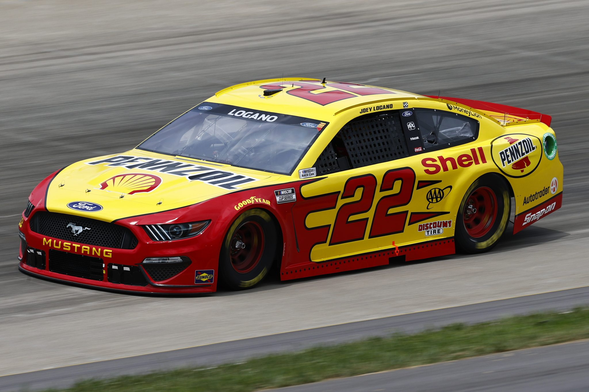 LEBANON, TENNESSEE - JUNE 19: Joey Logano, driver of the #22 Shell Pennzoil Ford, drives during practice for the NASCAR Cup Series Ally 400 at Nashville Superspeedway on June 19, 2021 in Lebanon, Tennessee. (Photo by Jared C. Tilton/Getty Images) | Getty Images