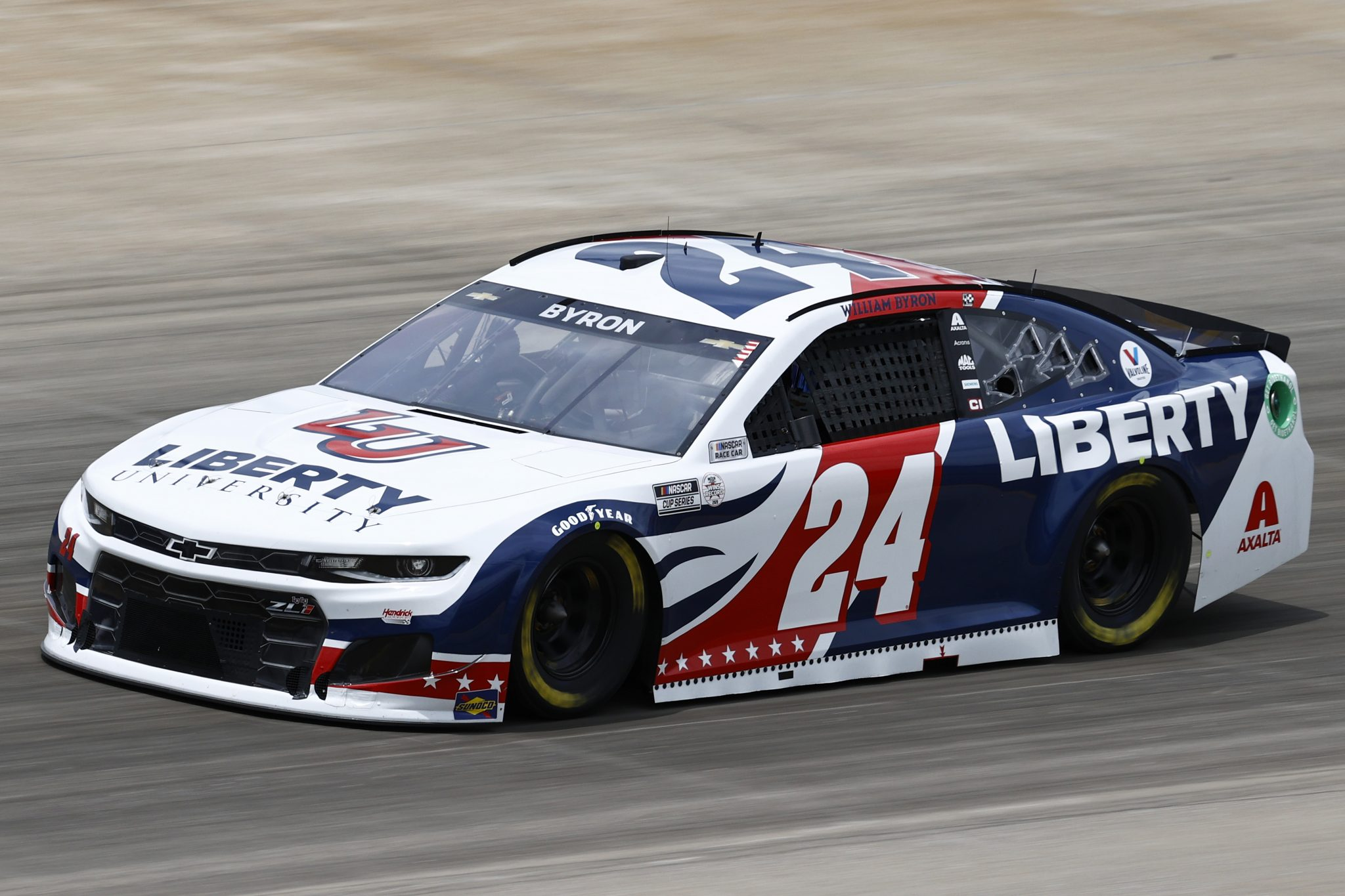 LEBANON, TENNESSEE - JUNE 19: William Byron, driver of the #24 Liberty University Chevrolet, drives during practice for the NASCAR Cup Series Ally 400 at Nashville Superspeedway on June 19, 2021 in Lebanon, Tennessee. (Photo by Jared C. Tilton/Getty Images)   Getty Images