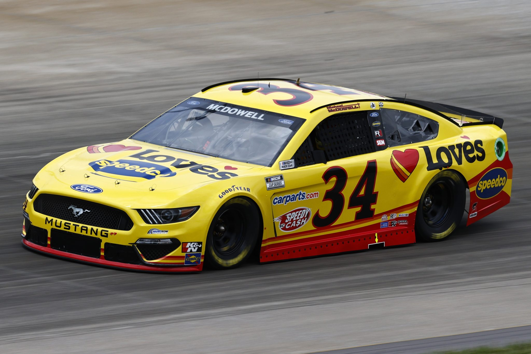 LEBANON, TENNESSEE - JUNE 19: Michael McDowell, driver of the #34 Love's Travel Stops Ford, drives during practice for the NASCAR Cup Series Ally 400 at Nashville Superspeedway on June 19, 2021 in Lebanon, Tennessee. (Photo by Jared C. Tilton/Getty Images) | Getty Images