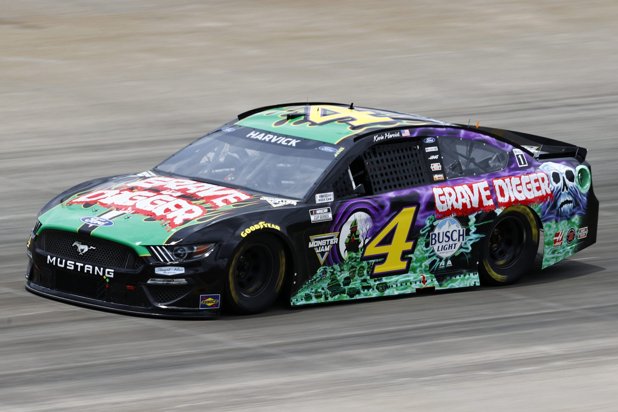 LEBANON, TENNESSEE - JUNE 19: Kevin Harvick, driver of the #4 Grave Digger Ford,  drives during practice for the NASCAR Cup Series Ally 400 at Nashville Superspeedway on June 19, 2021 in Lebanon, Tennessee. (Photo by Jared C. Tilton/Getty Images)   Getty Images