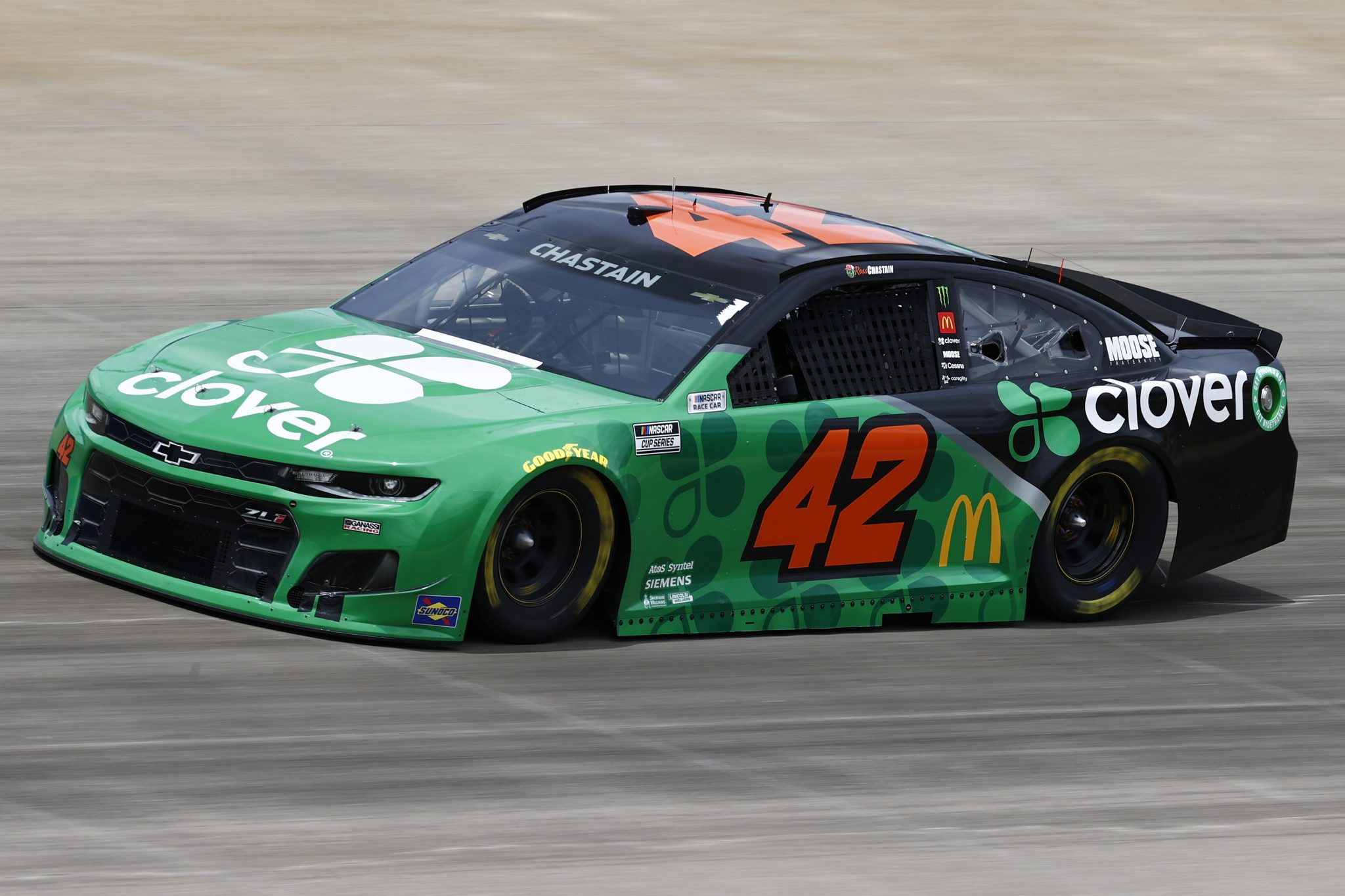 LEBANON, TENNESSEE - JUNE 19: Ross Chastain, driver of the #42 Clover Chevrolet, drives during practice for the NASCAR Cup Series Ally 400 at Nashville Superspeedway on June 19, 2021 in Lebanon, Tennessee. (Photo by Jared C. Tilton/Getty Images) | Getty Images