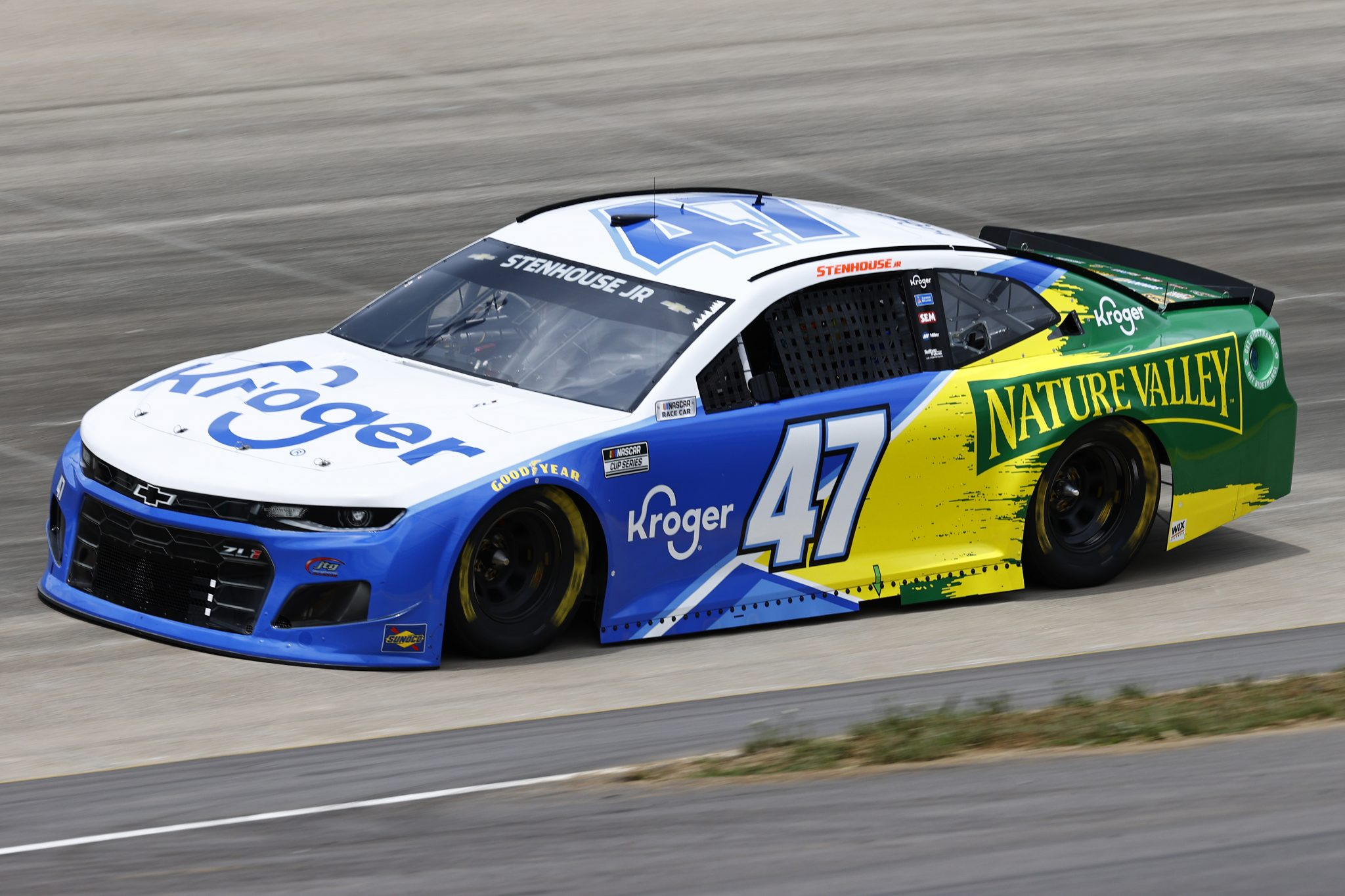 LEBANON, TENNESSEE - JUNE 19: Ricky Stenhouse Jr., driver of the #47 Kroger/Nature Valley Chevrolet, drives during practice for the NASCAR Cup Series Ally 400 at Nashville Superspeedway on June 19, 2021 in Lebanon, Tennessee. (Photo by Jared C. Tilton/Getty Images)   Getty Images