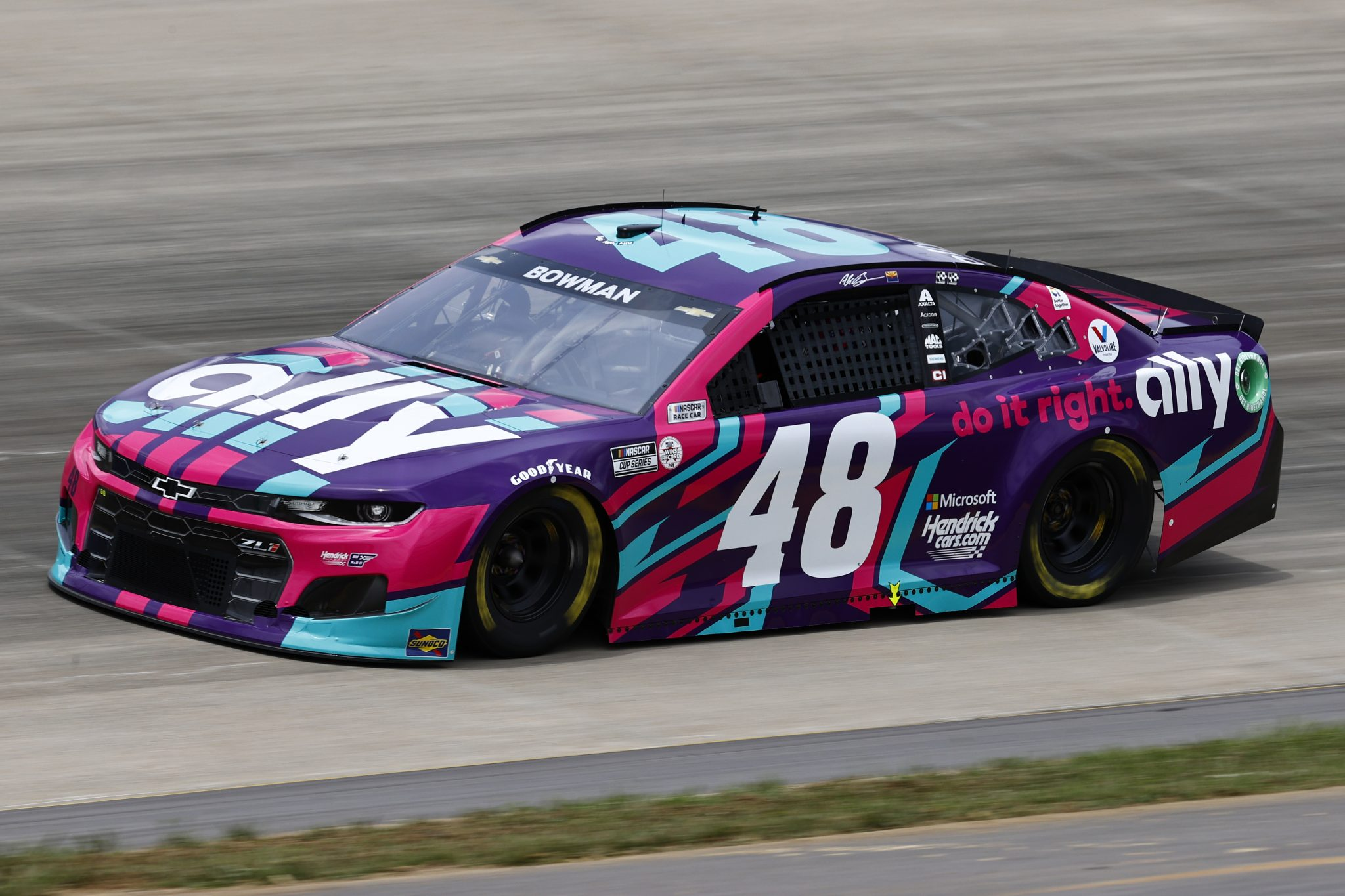 LEBANON, TENNESSEE - JUNE 19: Alex Bowman, driver of the #48 Ally Neon Lights Chevrolet, drives during practice for the NASCAR Cup Series Ally 400 at Nashville Superspeedway on June 19, 2021 in Lebanon, Tennessee. (Photo by Jared C. Tilton/Getty Images) | Getty Images