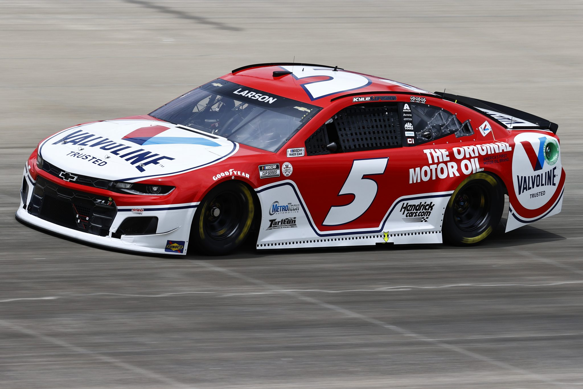 LEBANON, TENNESSEE - JUNE 19: Kyle Larson, driver of the #5 Valvoline Chevrolet, drives during practice for the NASCAR Cup Series Ally 400 at Nashville Superspeedway on June 19, 2021 in Lebanon, Tennessee. (Photo by Jared C. Tilton/Getty Images) | Getty Images