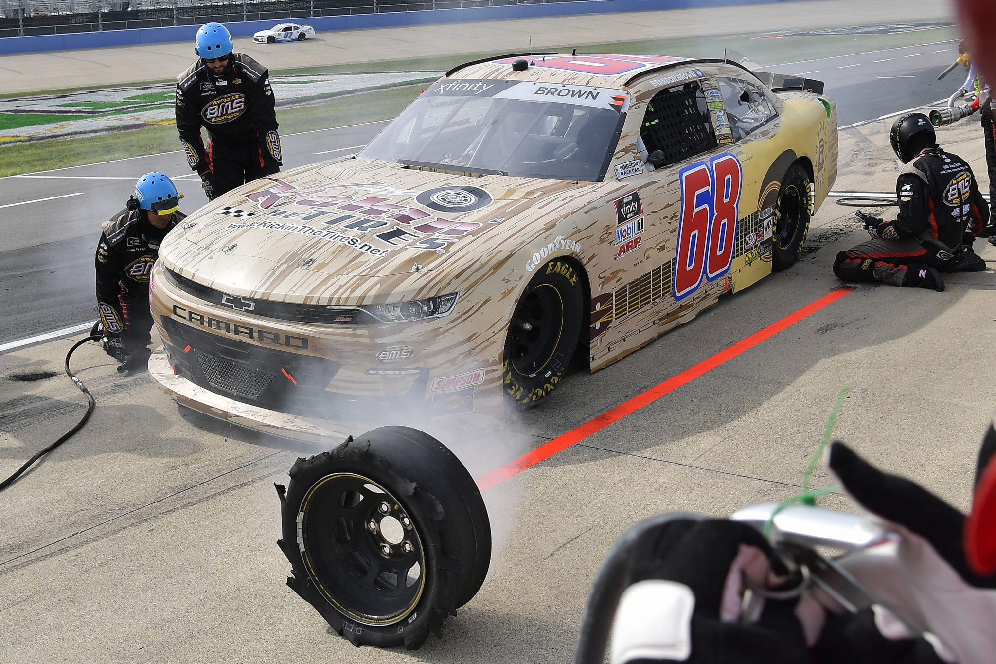 LEBANON, TENNESSEE - JUNE 19: Brandon Brown, driver of the #68 KickinTheTires.net/Brandon Davis Music Chevrolet, pits during the NASCAR Xfinity Series Tennessee Lottery 250 at Nashville Superspeedway on June 19, 2021 in Lebanon, Tennessee. (Photo by Logan Riely/Getty Images) | Getty Images