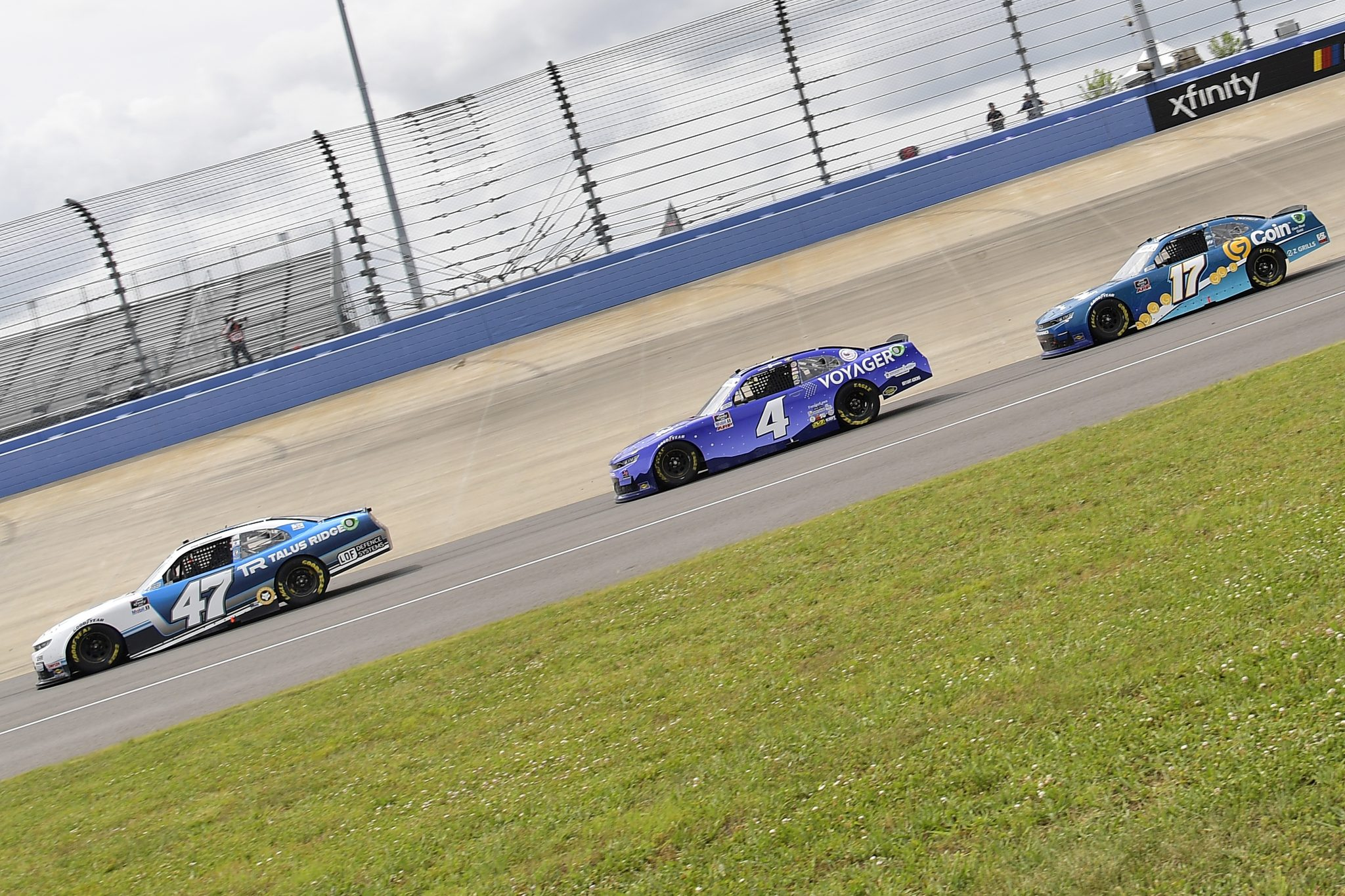 LEBANON, TENNESSEE - JUNE 19: Kyle Weatherman, driver of the #47 Replenish Foundation Chevrolet, Landon Cassill, driver of the #4 Voyager Chevrolet, and Joe Graf Jr., driver of the #17 G Coin Chevrolet, race during the NASCAR Xfinity Series Tennessee Lottery 250 at Nashville Superspeedway on June 19, 2021 in Lebanon, Tennessee. (Photo by Logan Riely/Getty Images)   Getty Images