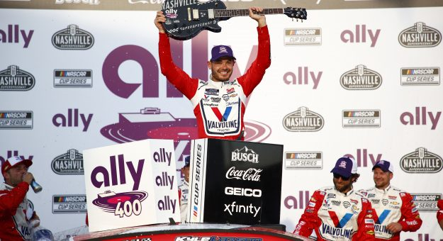 LEBANON, TENNESSEE - JUNE 20: Kyle Larson, driver of the #5 Valvoline Chevrolet,celebrates in victory lane after winning the NASCAR Cup Series Ally 400 at Nashville Superspeedway on June 20, 2021 in Lebanon, Tennessee. (Photo by Jared C. Tilton/Getty Images) | Getty Images