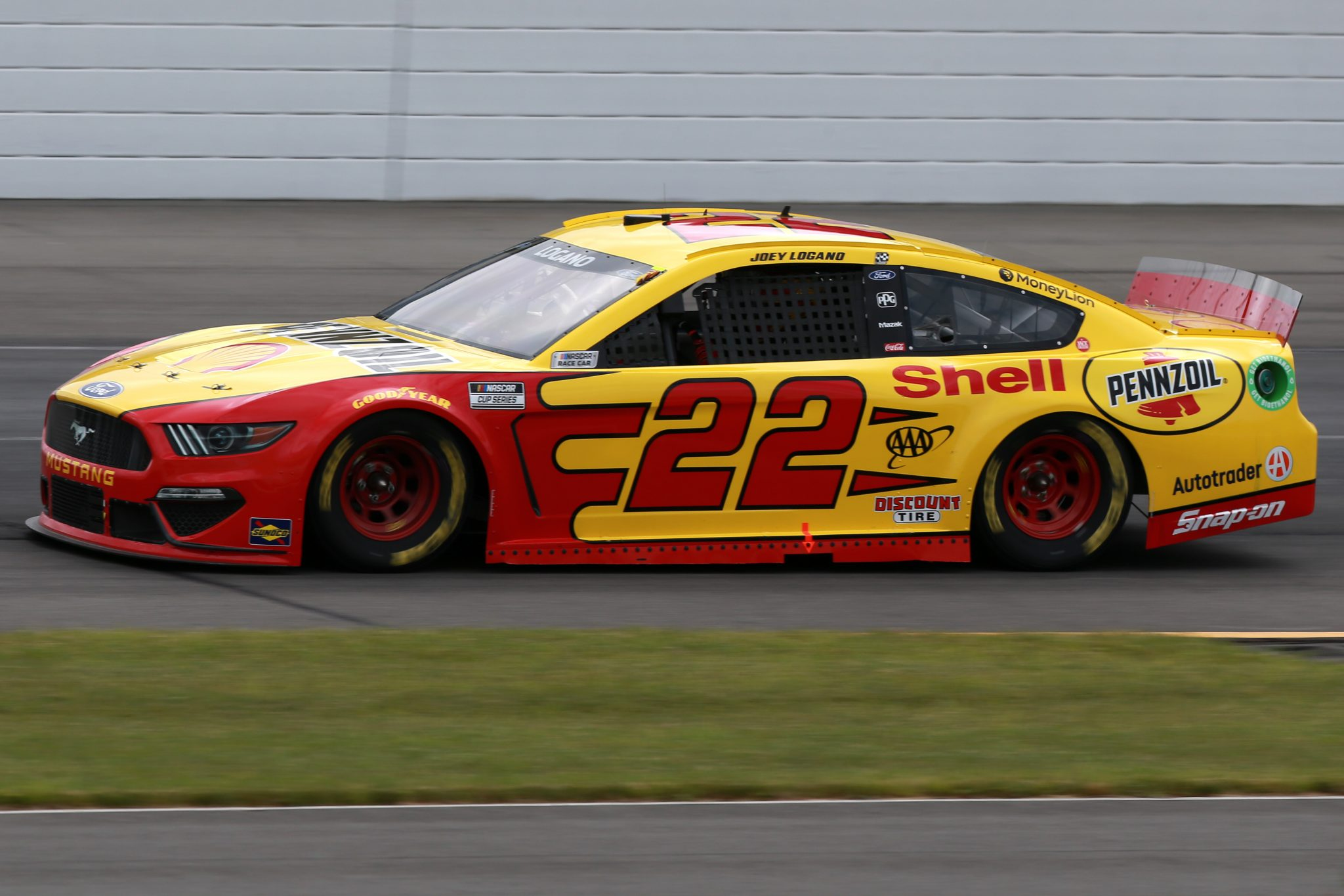 LONG POND, PENNSYLVANIA - JUNE 26: Joey Logano, driver of the #22 Shell Pennzoil Ford, drives during the NASCAR Cup Series Pocono Organics CBD 325 at Pocono Raceway on June 26, 2021 in Long Pond, Pennsylvania. (Photo by Sean Gardner/Getty Images) | Getty Images