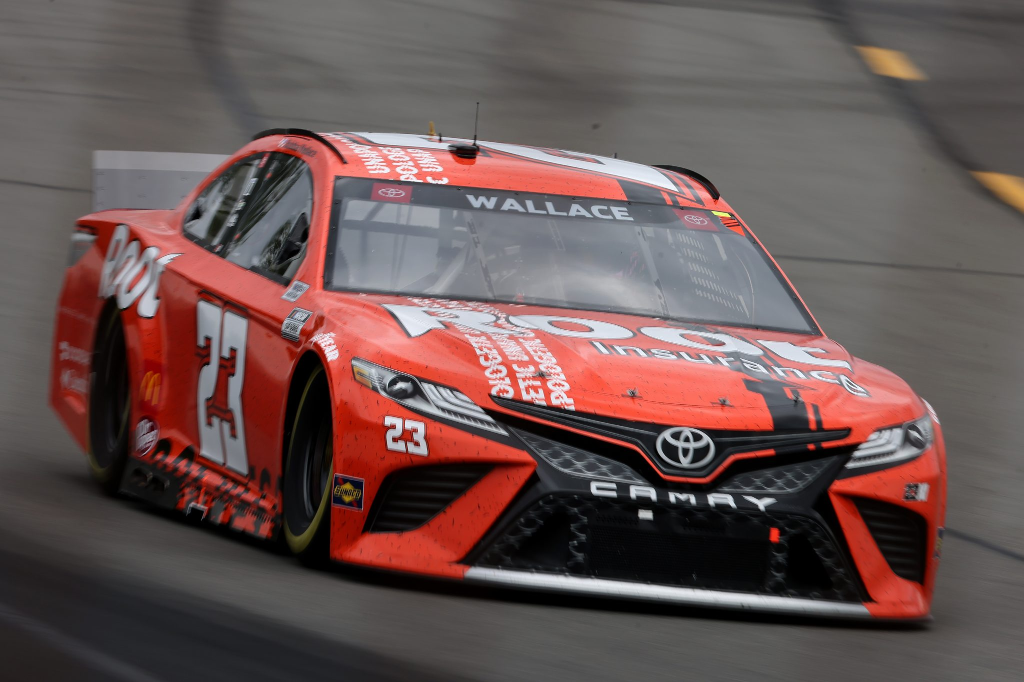 LONG POND, PENNSYLVANIA - JUNE 26: Bubba Wallace, driver of the #23 Root Insurance Toyota, drives during the NASCAR Cup Series Pocono Organics CBD 325 at Pocono Raceway on June 26, 2021 in Long Pond, Pennsylvania. (Photo by James Gilbert/Getty Images)   Getty Images