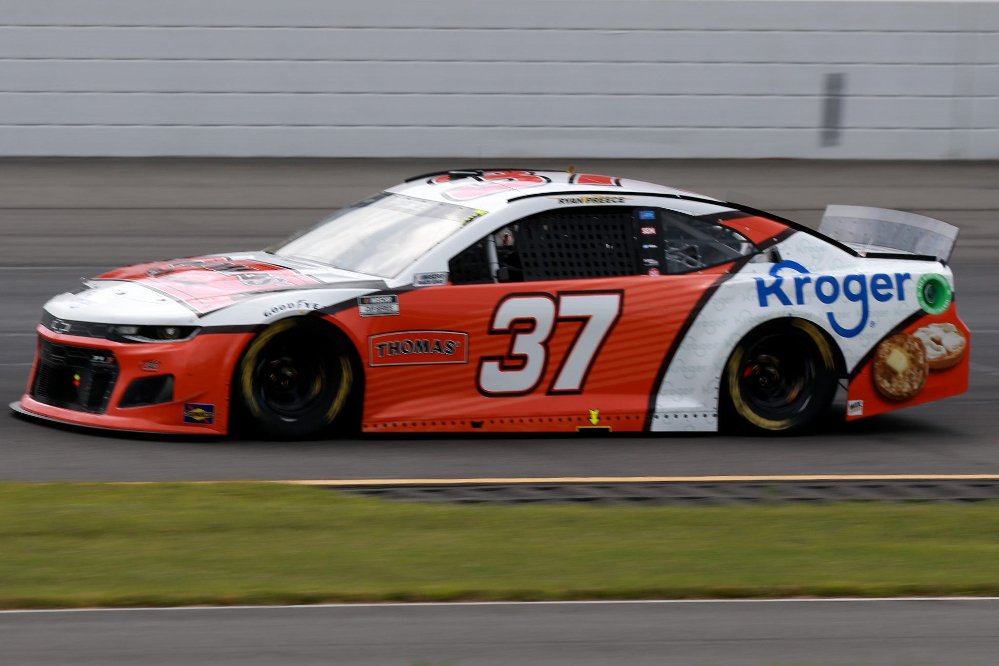 LONG POND, PENNSYLVANIA - JUNE 26: Ryan Preece, driver of the #37 Thomas'/Kroger Chevrolet, drives during the NASCAR Cup Series Pocono Organics CBD 325 at Pocono Raceway on June 26, 2021 in Long Pond, Pennsylvania. (Photo by Sean Gardner/Getty Images) | Getty Images