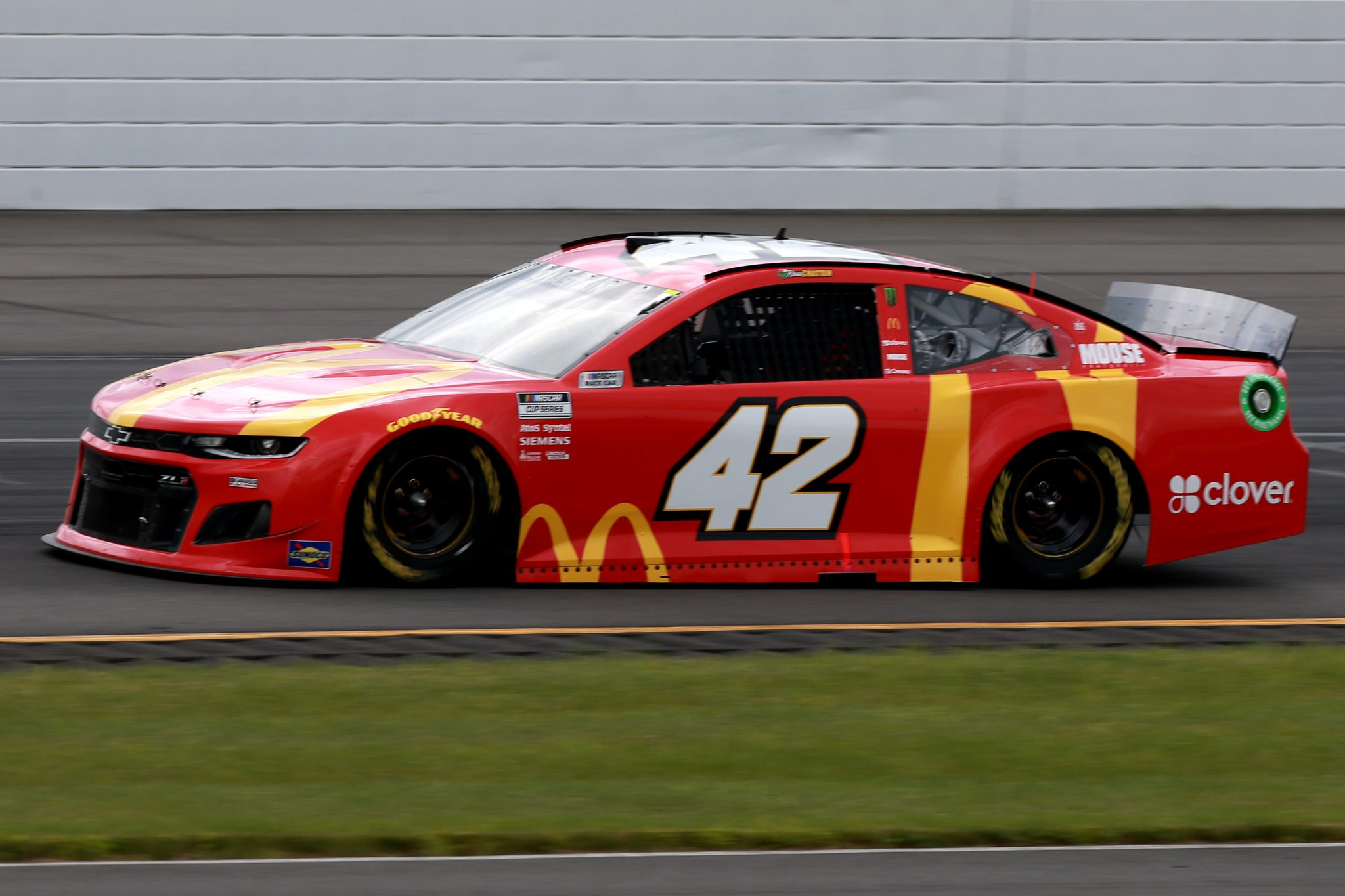 LONG POND, PENNSYLVANIA - JUNE 26: Ross Chastain, driver of the #42 McDonald's Chevrolet, drives during the NASCAR Cup Series Pocono Organics CBD 325 at Pocono Raceway on June 26, 2021 in Long Pond, Pennsylvania. (Photo by Sean Gardner/Getty Images) | Getty Images