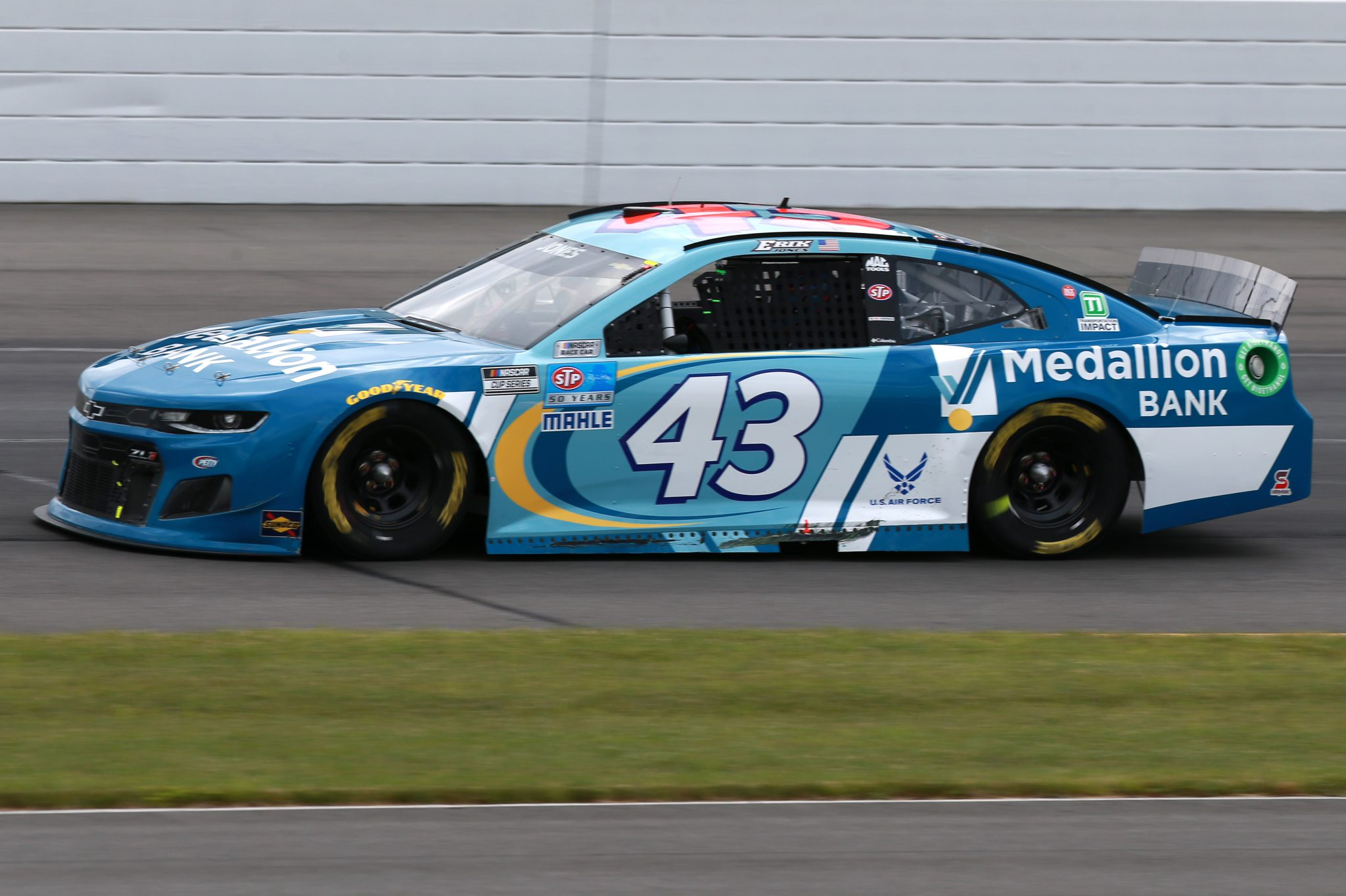 LONG POND, PENNSYLVANIA - JUNE 26: Erik Jones, driver of the #43 Medallion Bank Chevrolet, drives during the NASCAR Cup Series Pocono Organics CBD 325 at Pocono Raceway on June 26, 2021 in Long Pond, Pennsylvania. (Photo by Sean Gardner/Getty Images) | Getty Images