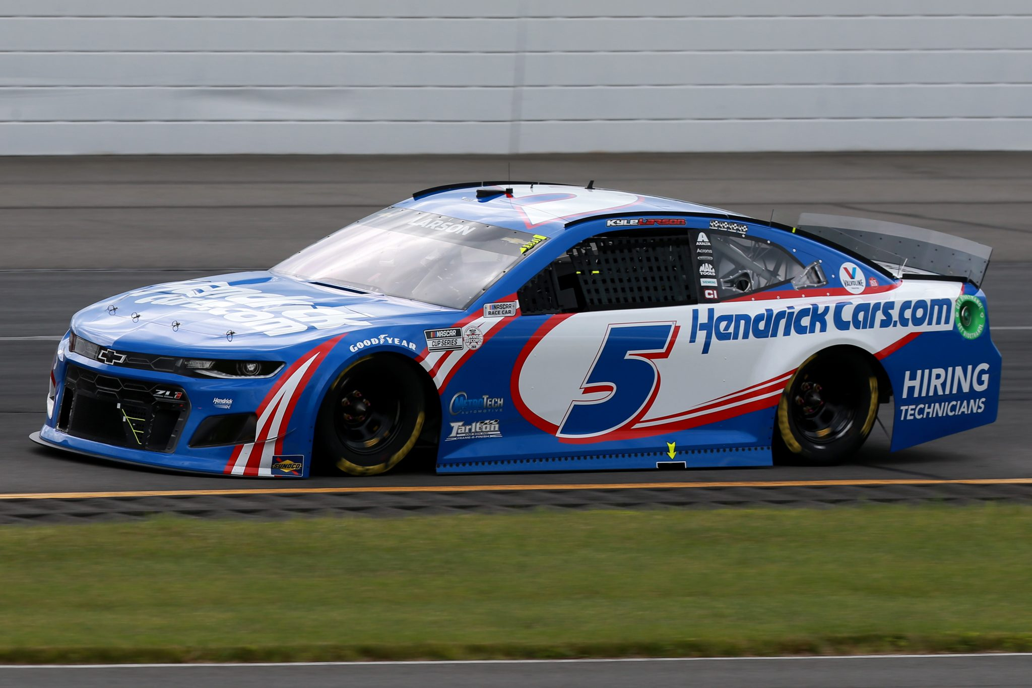 LONG POND, PENNSYLVANIA - JUNE 26: Kyle Larson, driver of the #5 HendrickCars.com Chevrolet, drives during the NASCAR Cup Series Pocono Organics CBD 325 at Pocono Raceway on June 26, 2021 in Long Pond, Pennsylvania. (Photo by Sean Gardner/Getty Images) | Getty Images