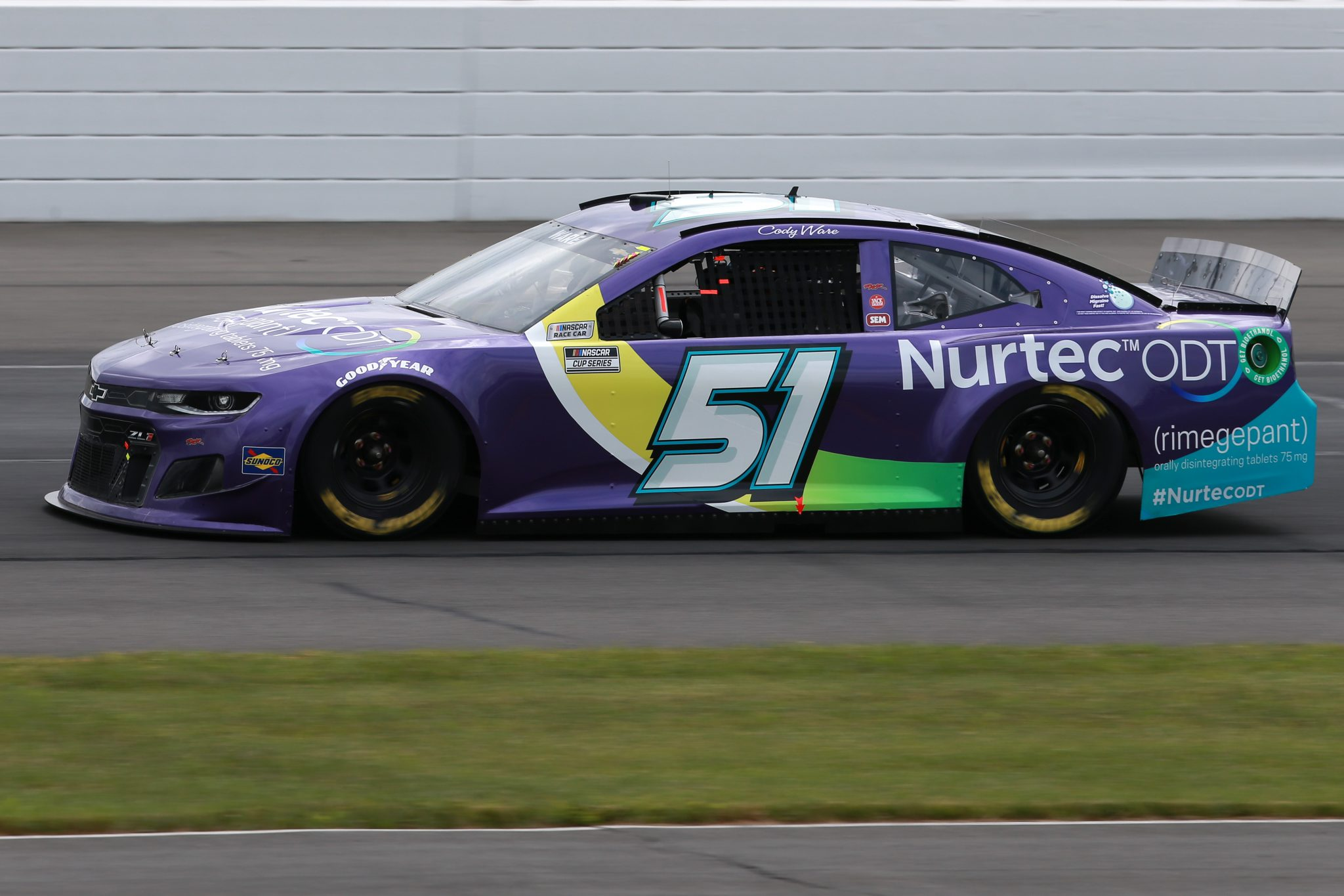 LONG POND, PENNSYLVANIA - JUNE 26: Cody Ware, driver of the #51 Nurtec ODT Chevrolet, drives during the NASCAR Cup Series Pocono Organics CBD 325 at Pocono Raceway on June 26, 2021 in Long Pond, Pennsylvania. (Photo by Sean Gardner/Getty Images) | Getty Images