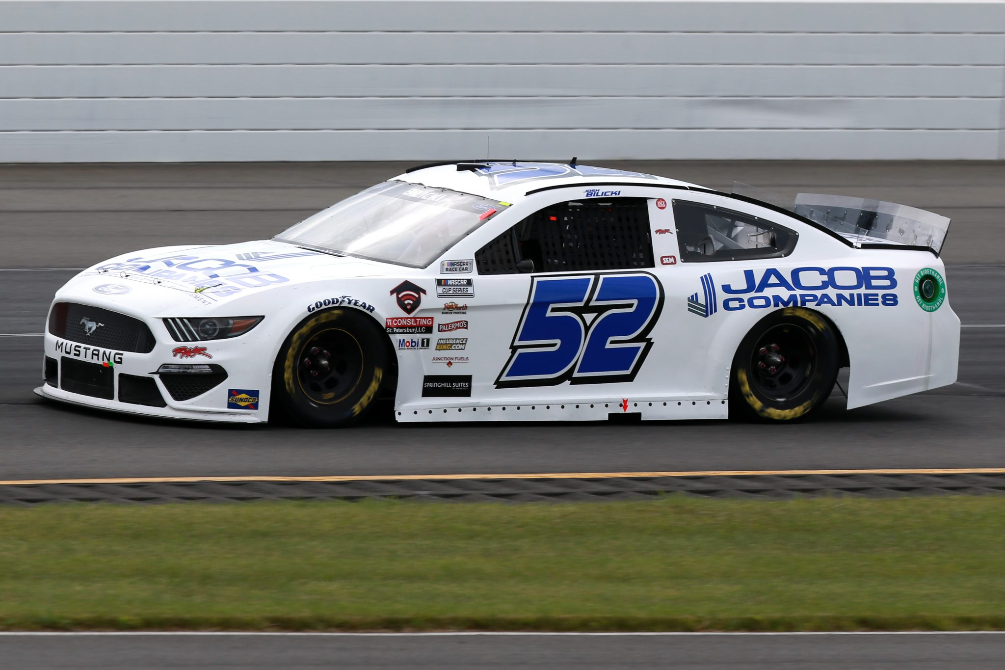LONG POND, PENNSYLVANIA - JUNE 26: Josh Bilicki, driver of the #52 Ford, drives during the NASCAR Cup Series Pocono Organics CBD 325 at Pocono Raceway on June 26, 2021 in Long Pond, Pennsylvania. (Photo by Sean Gardner/Getty Images)   Getty Images