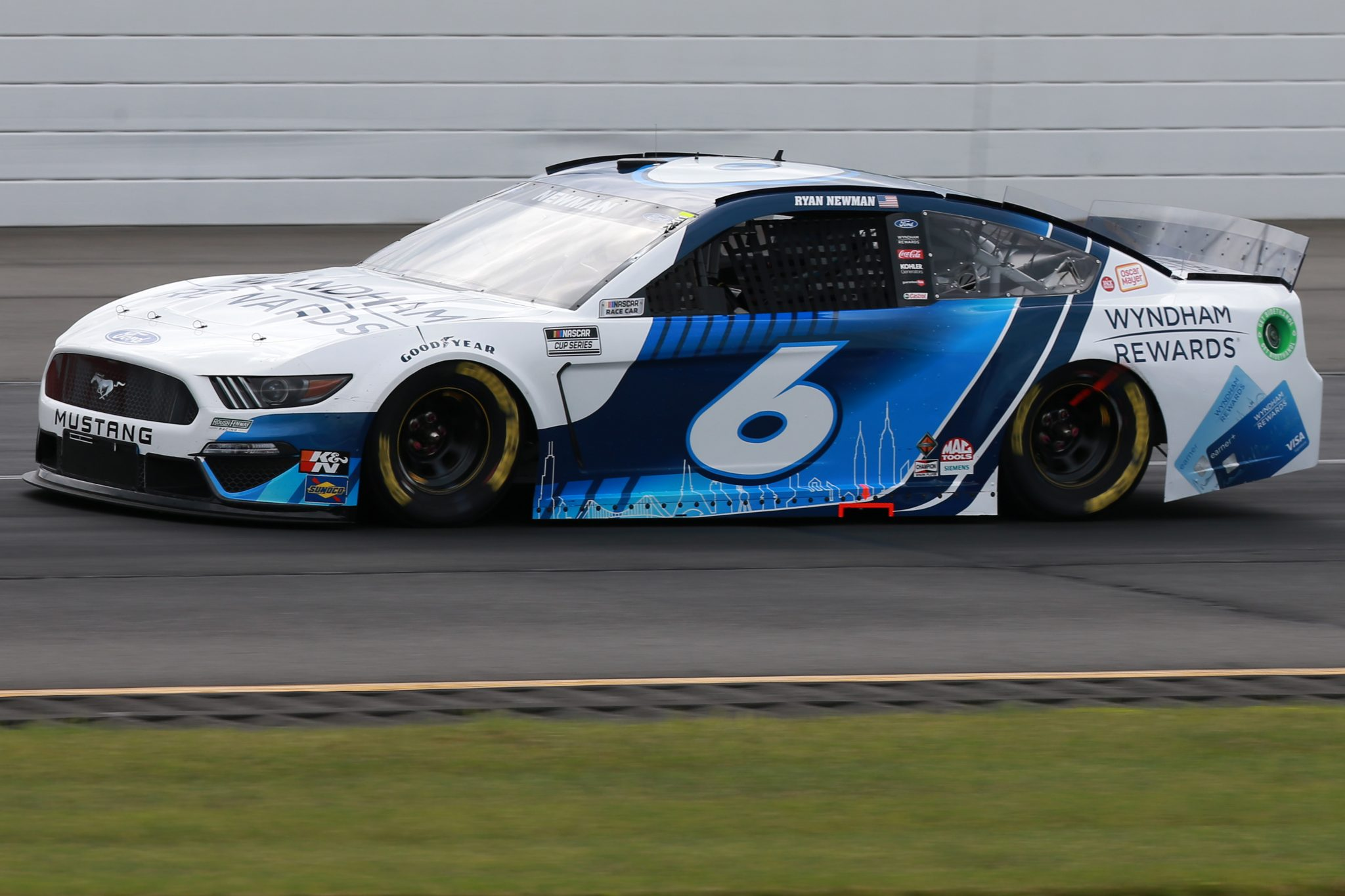 LONG POND, PENNSYLVANIA - JUNE 26: Ryan Newman, driver of the #6 Wyndham Rewards Ford, drives during the NASCAR Cup Series Pocono Organics CBD 325 at Pocono Raceway on June 26, 2021 in Long Pond, Pennsylvania. (Photo by Sean Gardner/Getty Images) | Getty Images