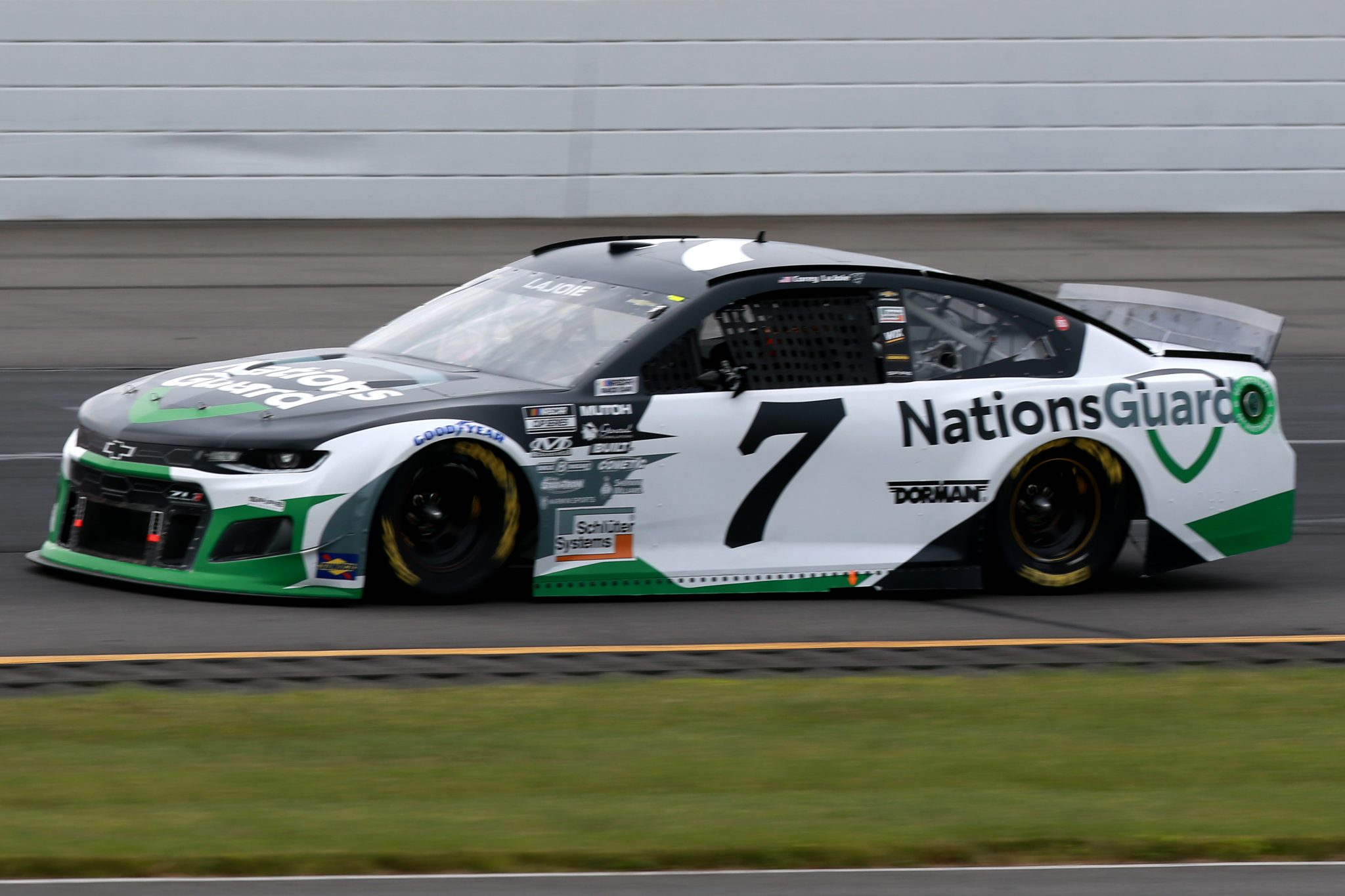 LONG POND, PENNSYLVANIA - JUNE 26: Corey LaJoie, driver of the #7 Nations Guard Chevrolet, drives during the NASCAR Cup Series Pocono Organics CBD 325 at Pocono Raceway on June 26, 2021 in Long Pond, Pennsylvania. (Photo by Sean Gardner/Getty Images)   Getty Images