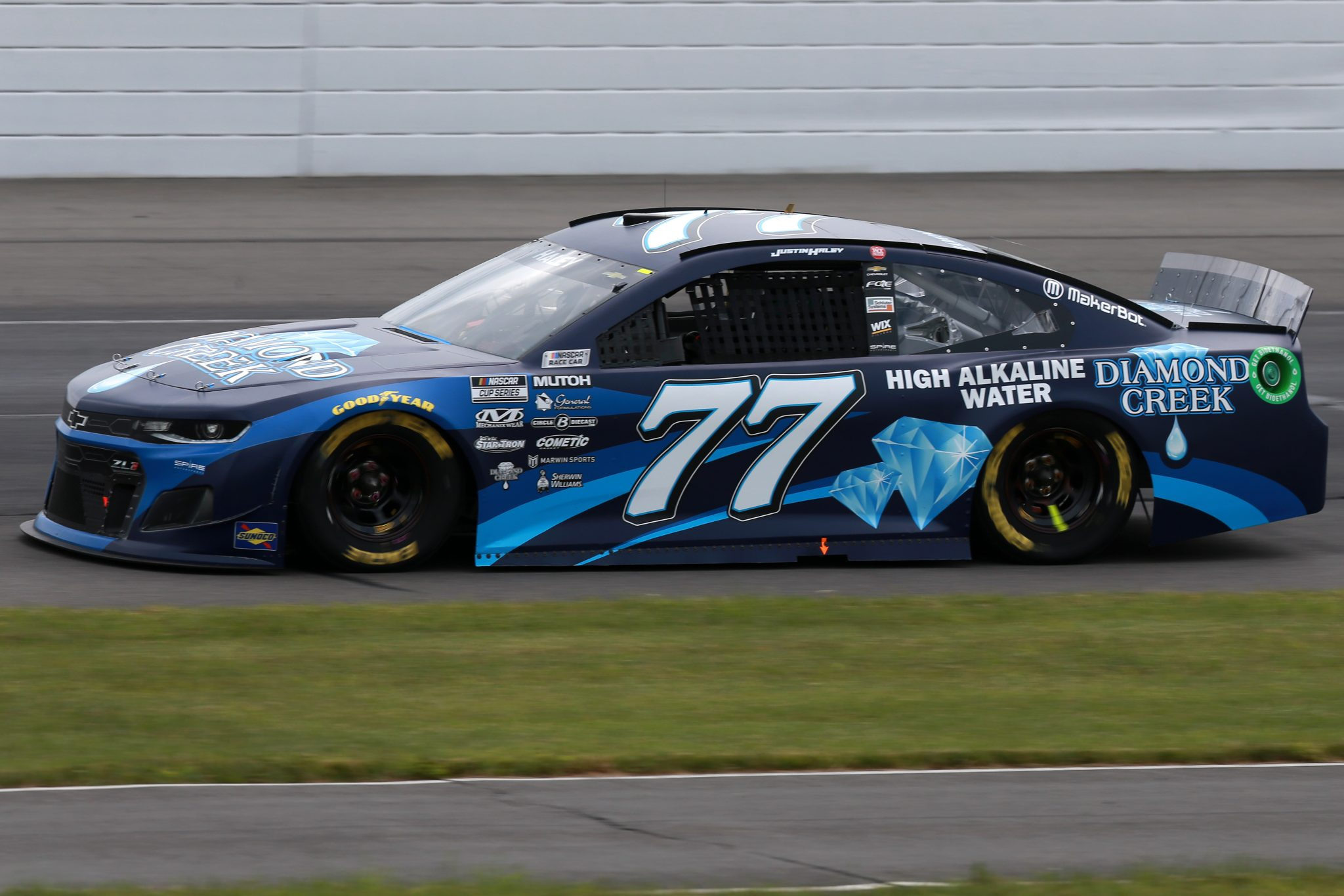LONG POND, PENNSYLVANIA - JUNE 26: Justin Haley, driver of the #77 Diamond Creek Water Chevrolet, drives during the NASCAR Cup Series Pocono Organics CBD 325 at Pocono Raceway on June 26, 2021 in Long Pond, Pennsylvania. (Photo by Sean Gardner/Getty Images) | Getty Images