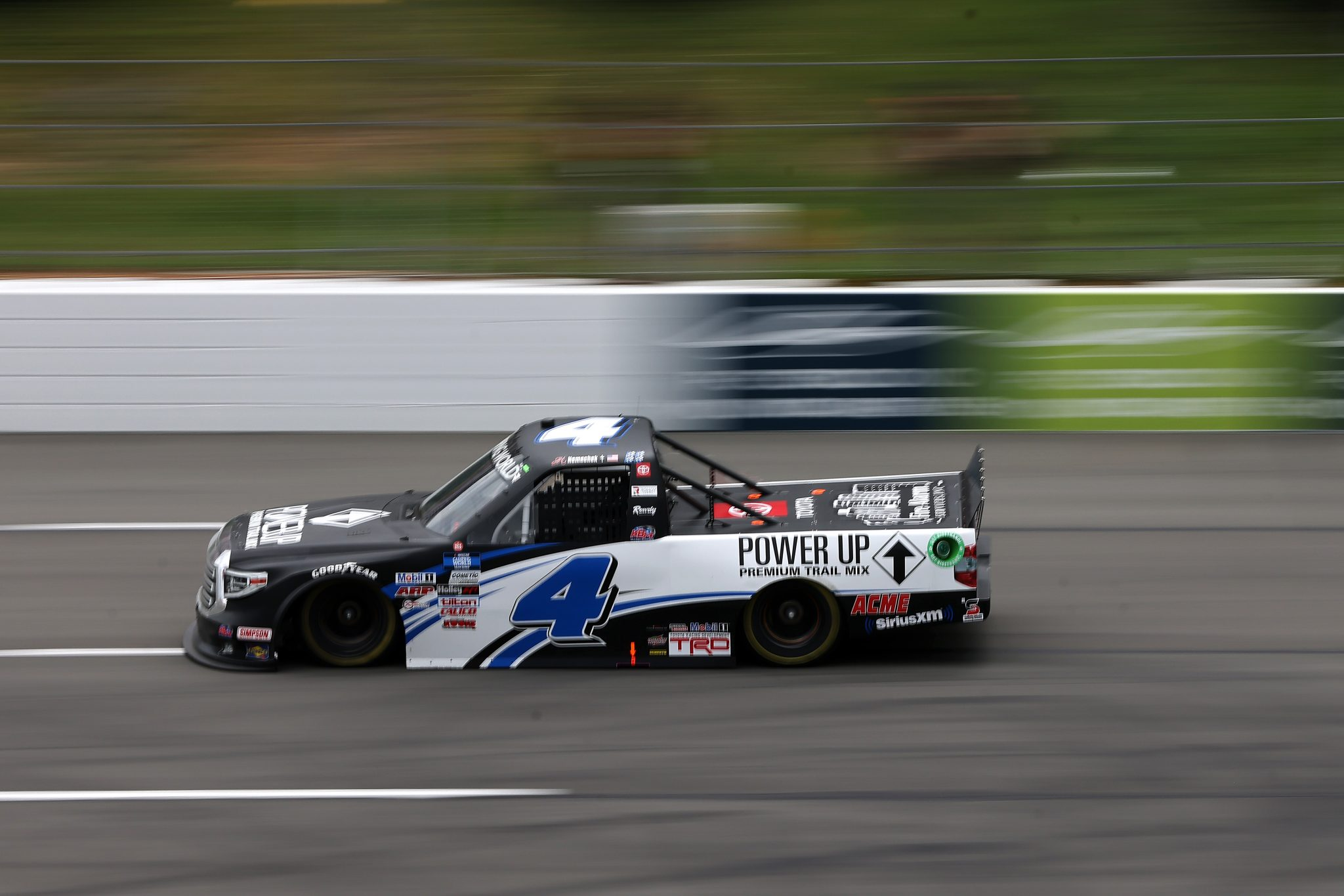 LONG POND, PENNSYLVANIA - JUNE 26: John Hunter Nemechek, driver of the #4 Power Up Premium Trail Mix Toyota, drives during the NASCAR Camping World Truck Series CRC Brakleen 150 at Pocono Raceway on June 26, 2021 in Long Pond, Pennsylvania. (Photo by James Gilbert/Getty Images)   Getty Images