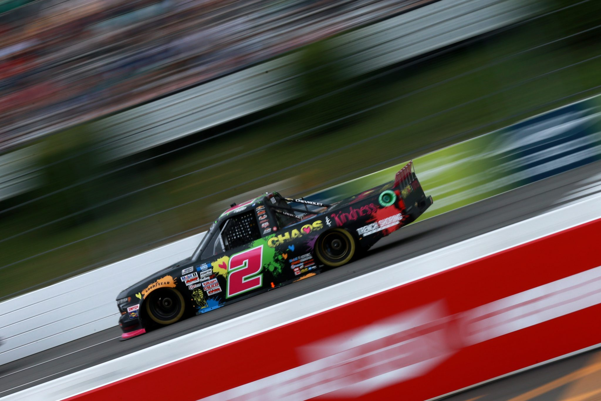 LONG POND, PENNSYLVANIA - JUNE 26: Sheldon Creed, driver of the #2 Chaos & Kindness Chevrolet, drives during the NASCAR Camping World Truck Series CRC Brakleen 150 at Pocono Raceway on June 26, 2021 in Long Pond, Pennsylvania. (Photo by Sean Gardner/Getty Images)   Getty Images