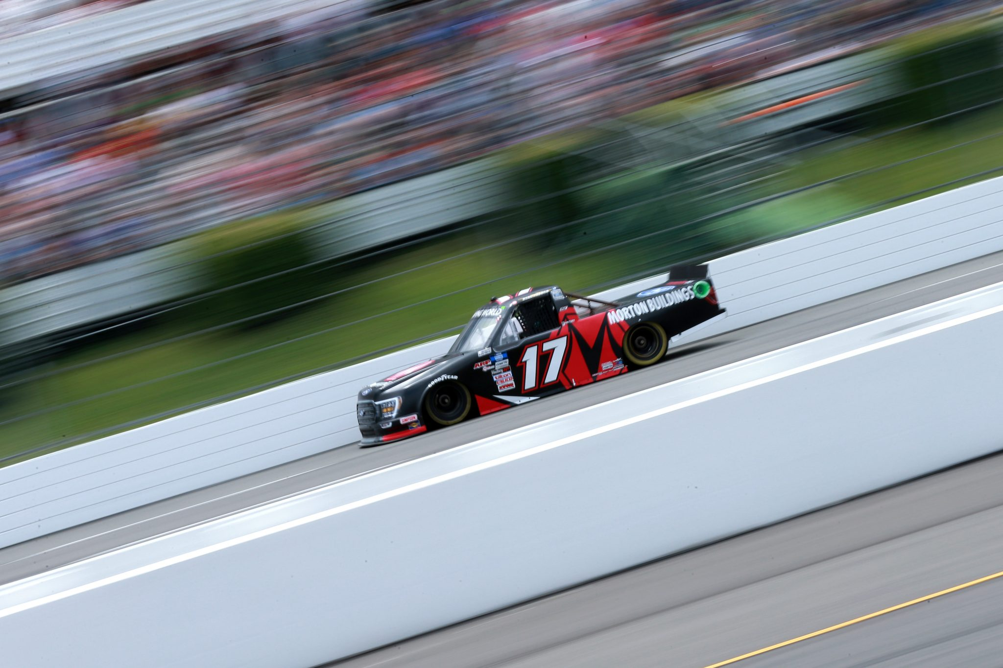 LONG POND, PENNSYLVANIA - JUNE 26: Ryan Preece, driver of the #17 Morton Buildings Ford, drives during the NASCAR Camping World Truck Series CRC Brakleen 150 at Pocono Raceway on June 26, 2021 in Long Pond, Pennsylvania. (Photo by Sean Gardner/Getty Images) | Getty Images