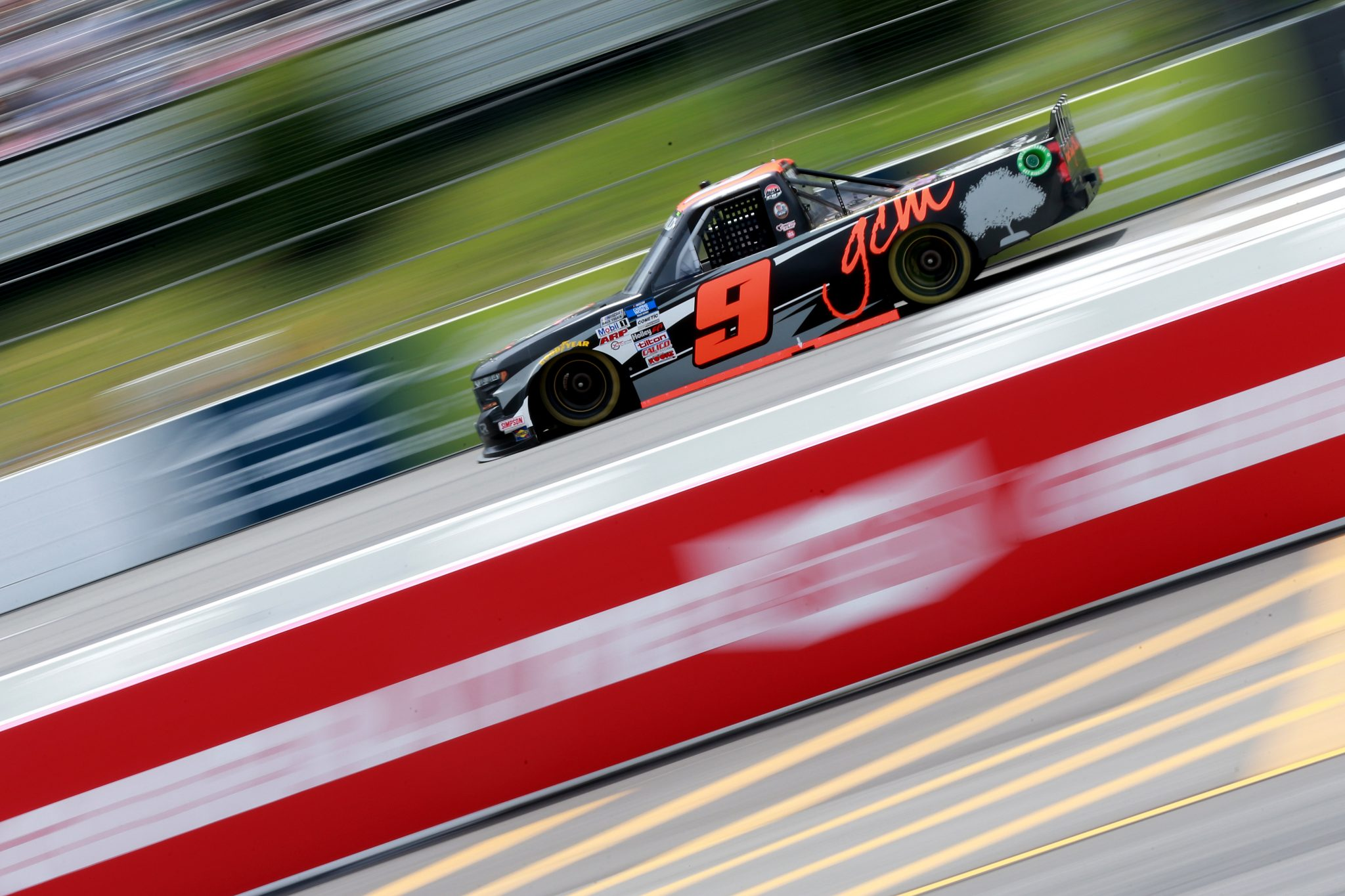 LONG POND, PENNSYLVANIA - JUNE 26: Grant Enfinger, driver of the #9 Grant County Mulch Chevrolet, drives during the NASCAR Camping World Truck Series CRC Brakleen 150 at Pocono Raceway on June 26, 2021 in Long Pond, Pennsylvania. (Photo by Sean Gardner/Getty Images) | Getty Images
