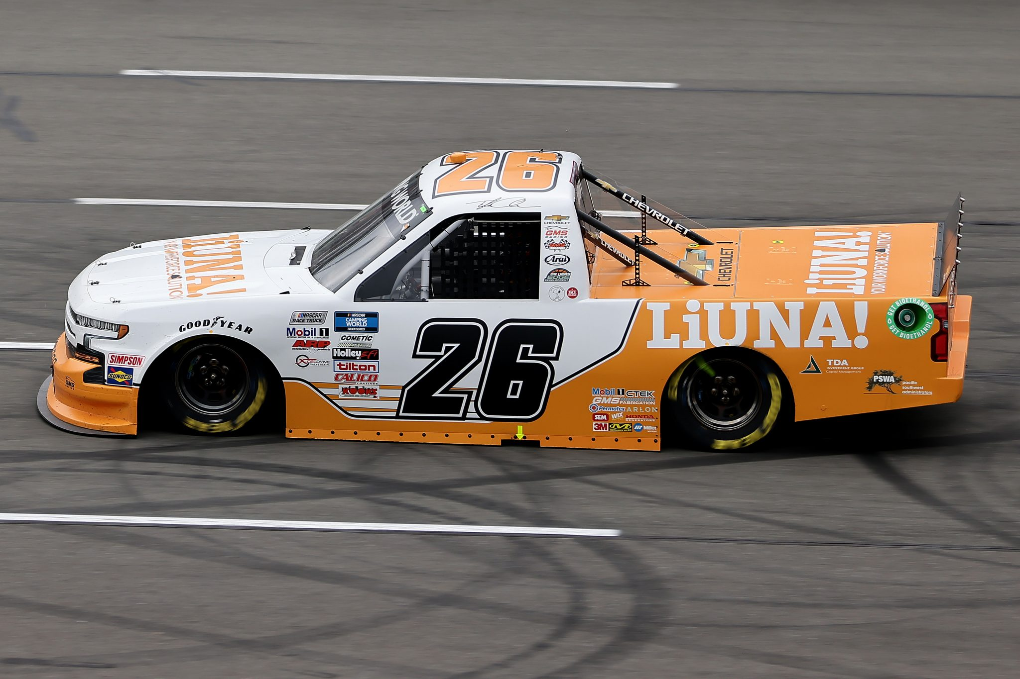 LONG POND, PENNSYLVANIA - JUNE 26: Tyler Ankrum, driver of the #26 LiUNA! Chevrolet, drives during the NASCAR Camping World Truck Series CRC Brakleen 150 at Pocono Raceway on June 26, 2021 in Long Pond, Pennsylvania. (Photo by James Gilbert/Getty Images) | Getty Images